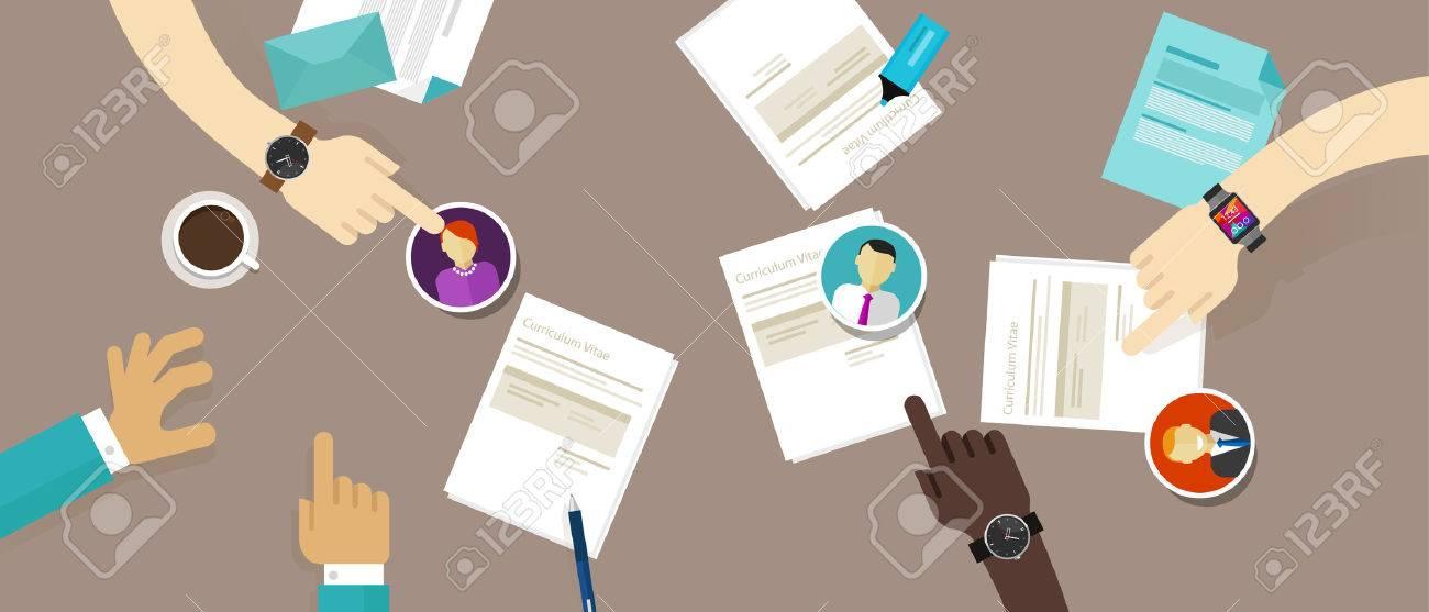 Select Cv Resume On The Desk Employee Recruitment Process Vector ...