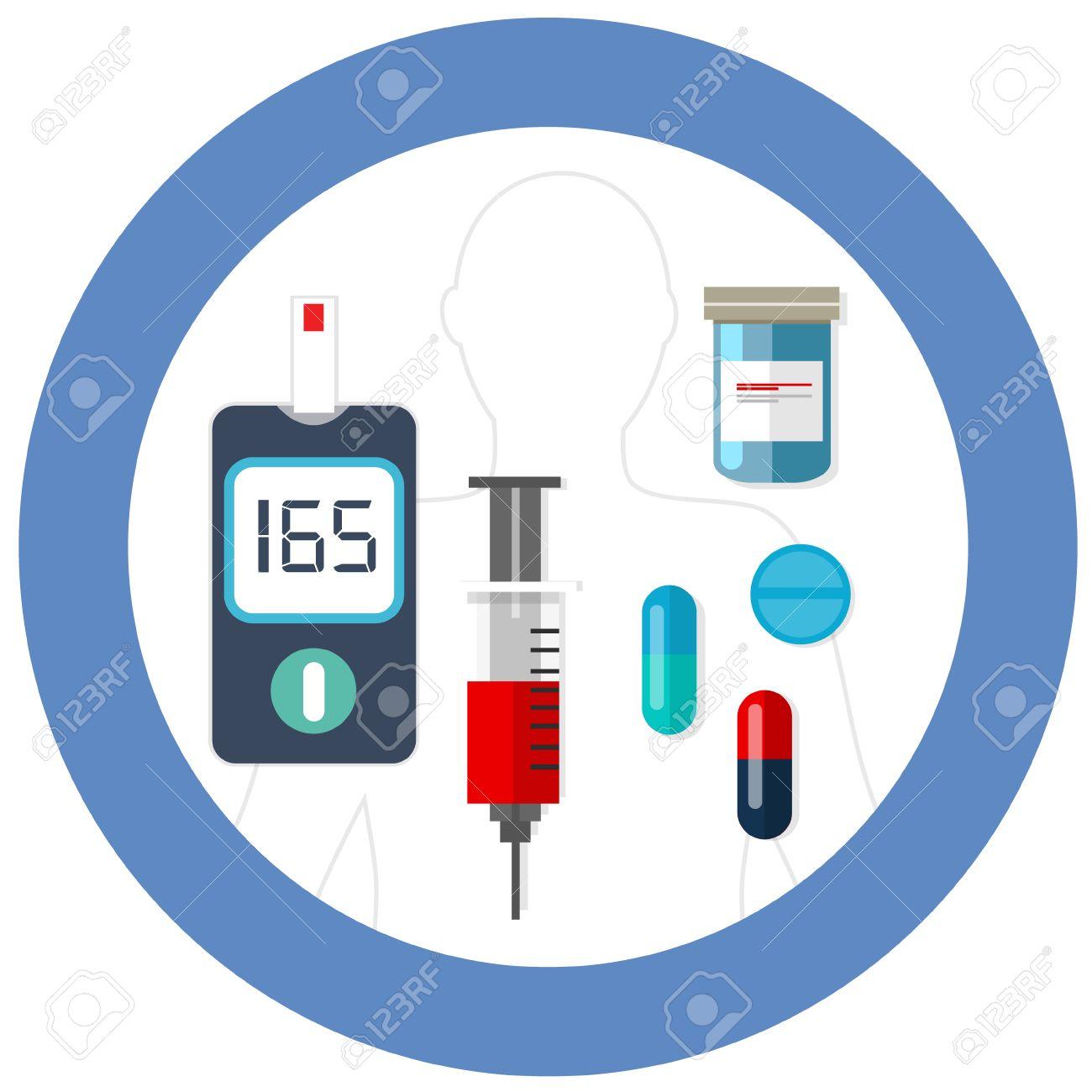 Día Mundial De La Diabetes Símbolo Círculo Azul Con El Dibujo Prueba De  Glucosa En La Sangre Del Vector Del Icono De Insulina Asistencia Sanitaria  Farmacia De Medicamentos Ilustraciones Vectoriales, Clip Art