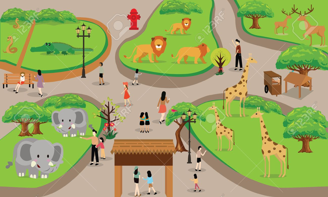 zoo cartoon people family with animals scene vector illustration background from top landscape drawing - 48408745