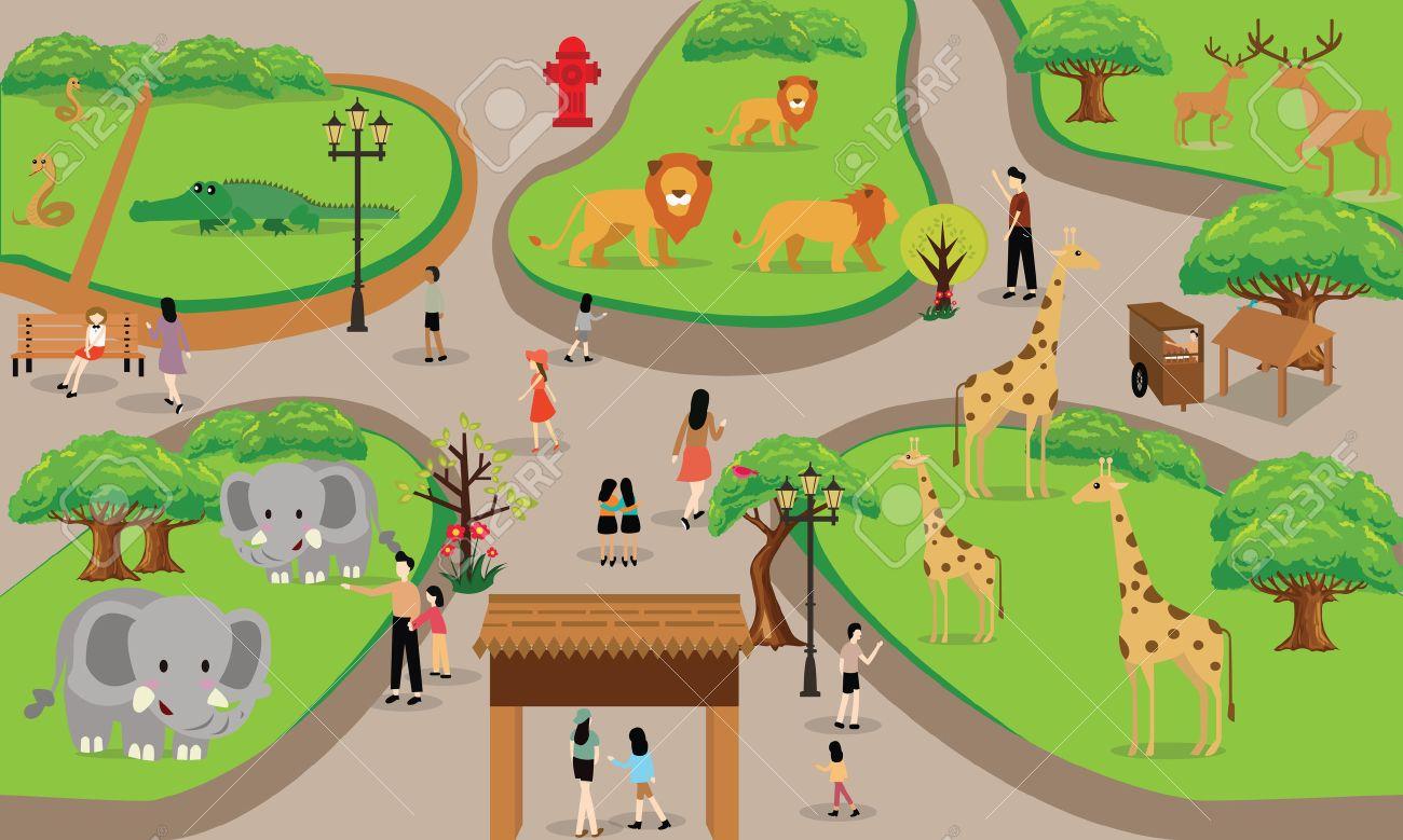 Zoo Gens De Dessin Anime Famille Avec Des Animaux Scene Vecteur Illustration De Fond De Haut Dessin De Paysage Clip Art Libres De Droits Vecteurs Et Illustration Image 48408745