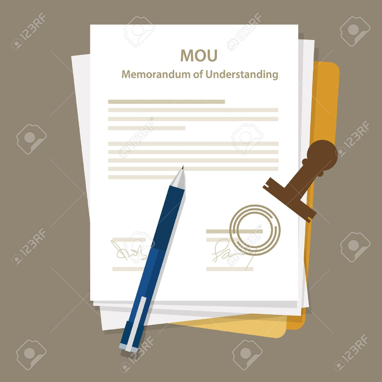 Mou Memorandum Of Understanding Legal Document Agreement Stamp Vector Stock