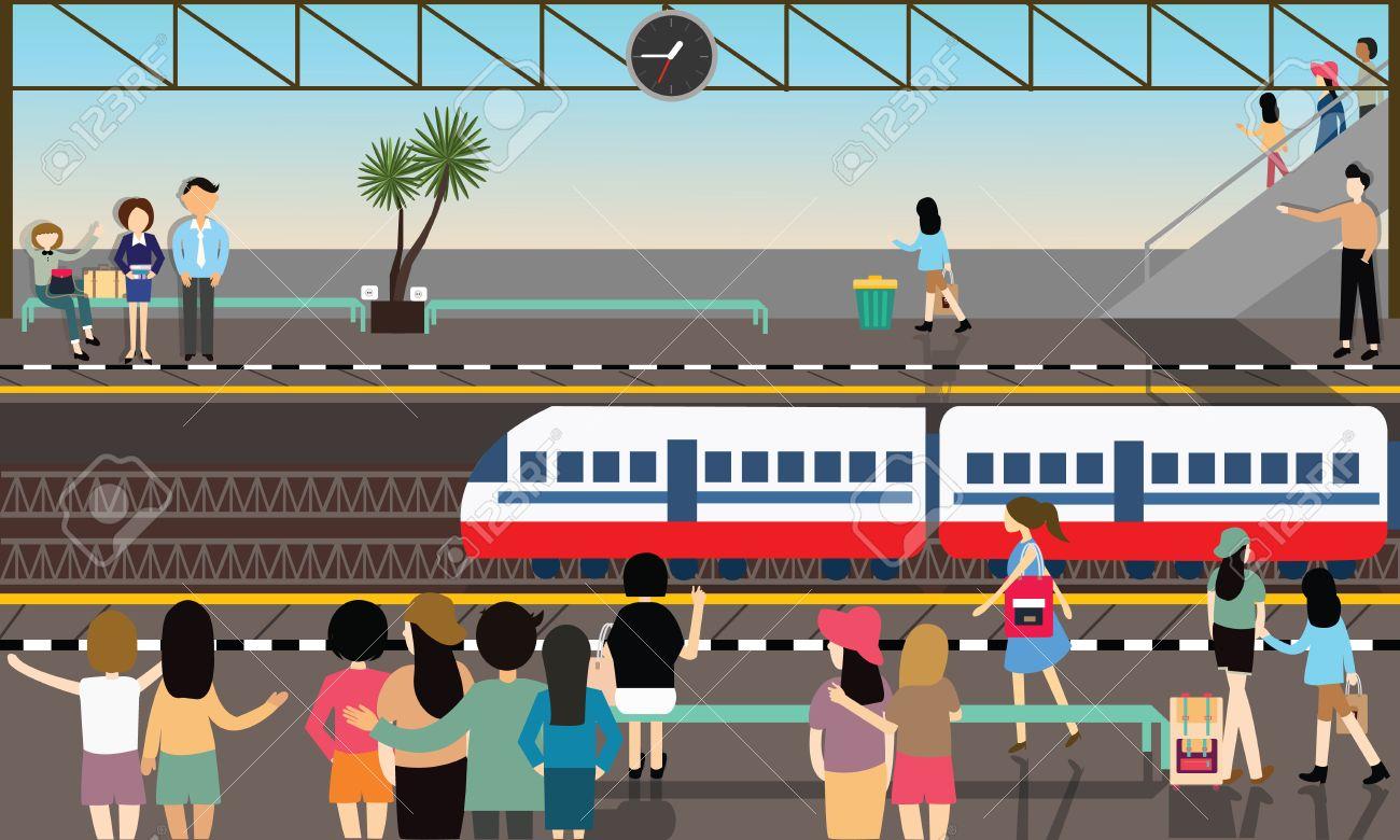 train station busy illustration vector flat city transportation