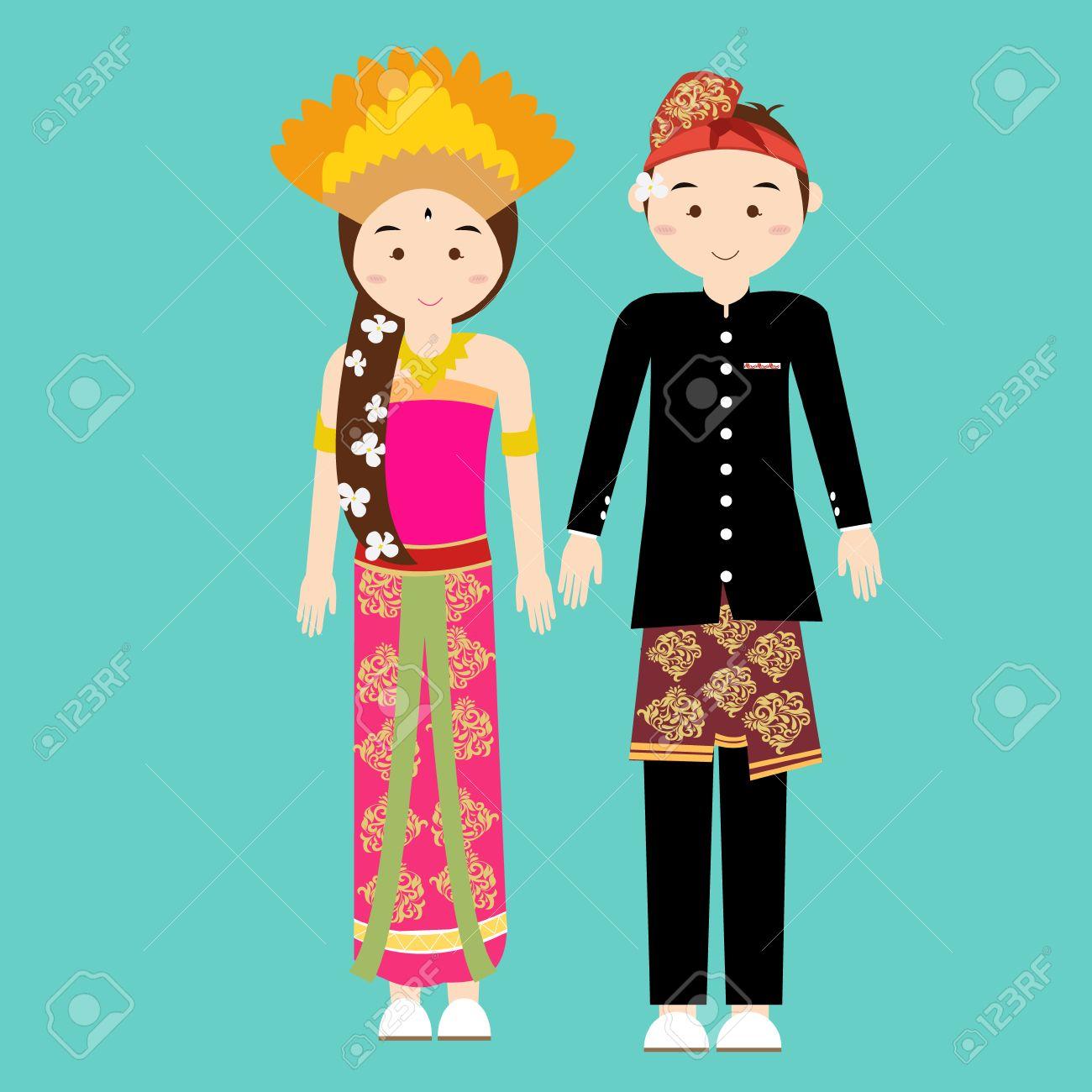 Bali Balinese Couple Men Woman Wearing Traditional Wedding Clothes ...