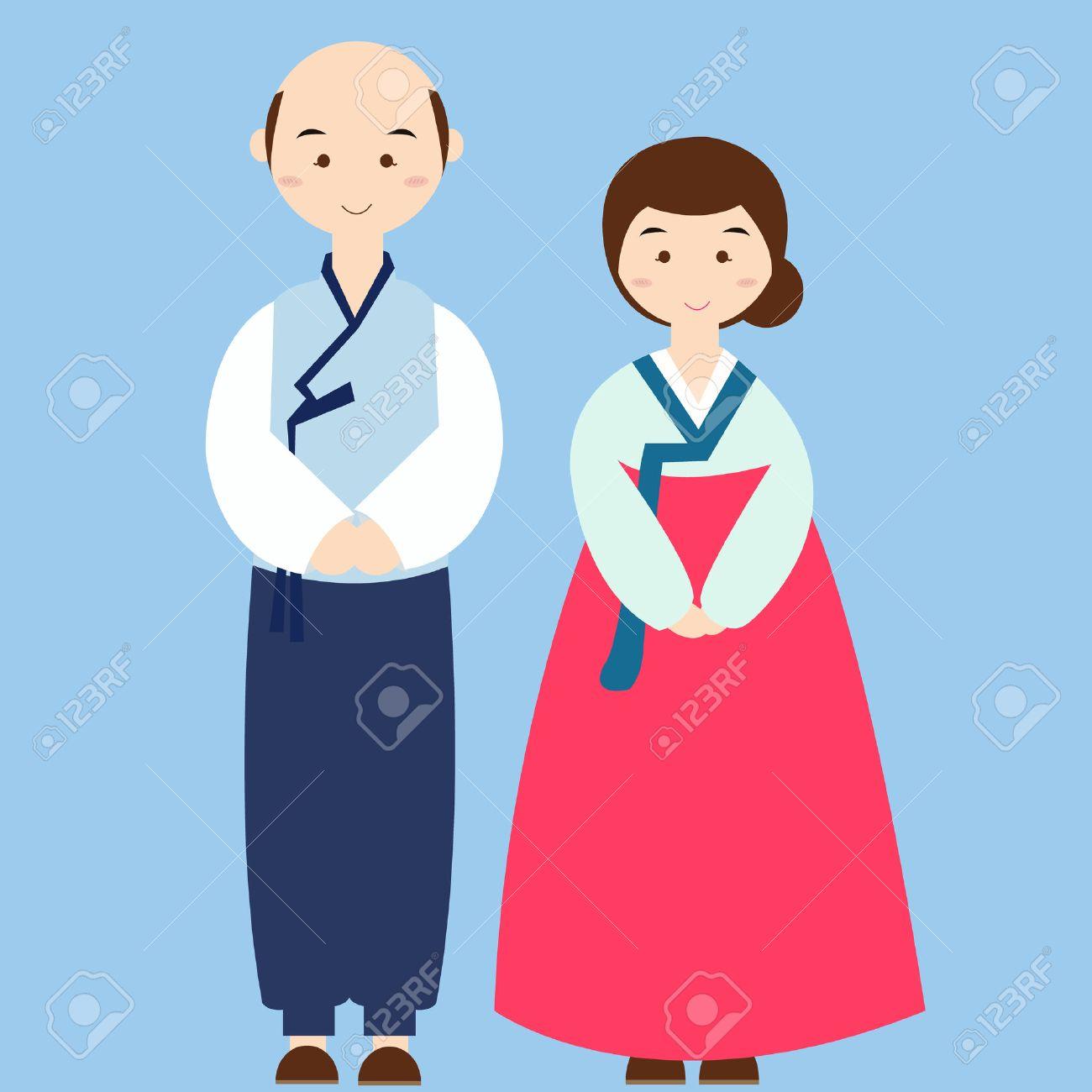 韓国の伝統的な服を着てカップル衣装アジア結婚式ドレス ロイヤリティ