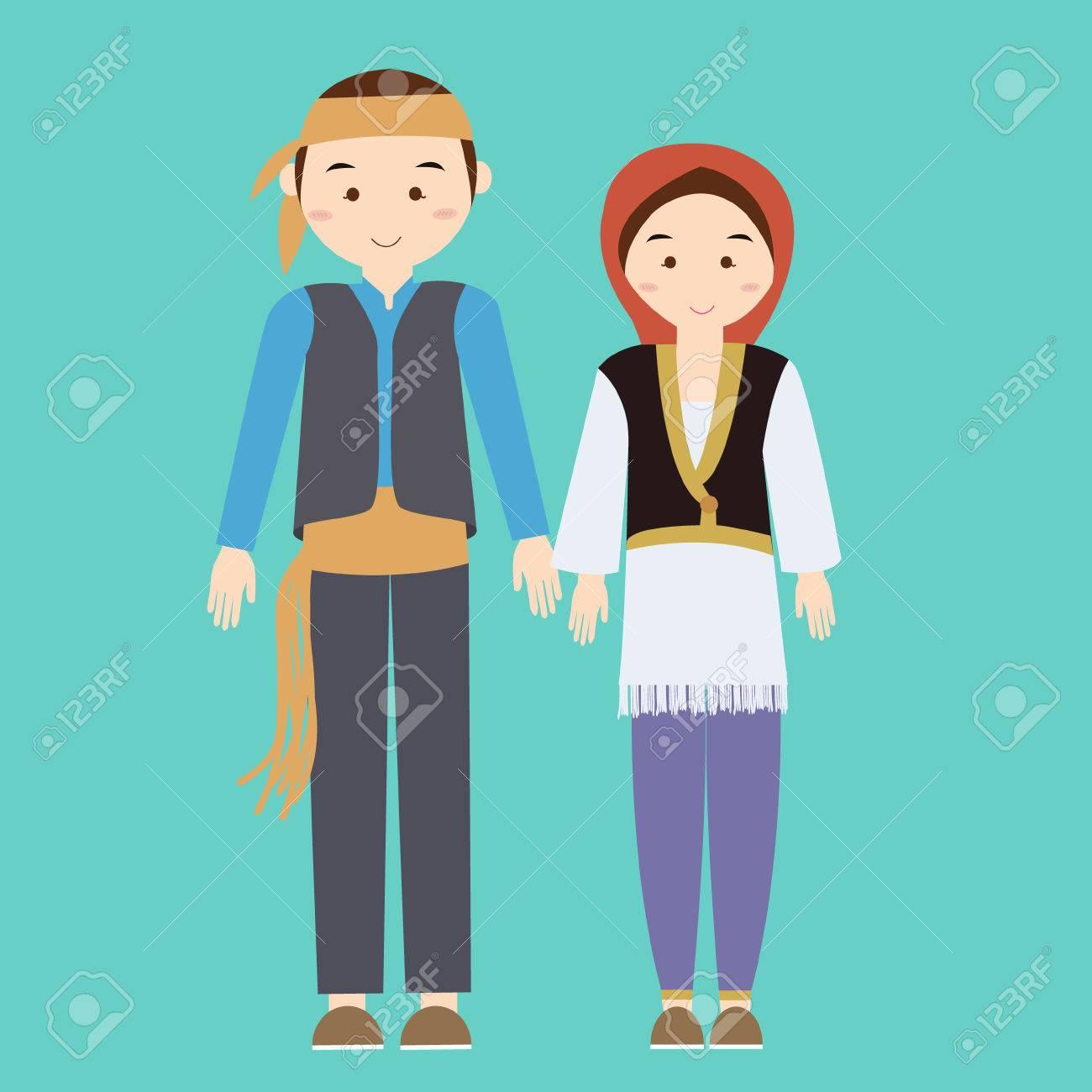 カップル男女性トルコ トルコ トルコの伝統的な衣装服を着てドレス男性