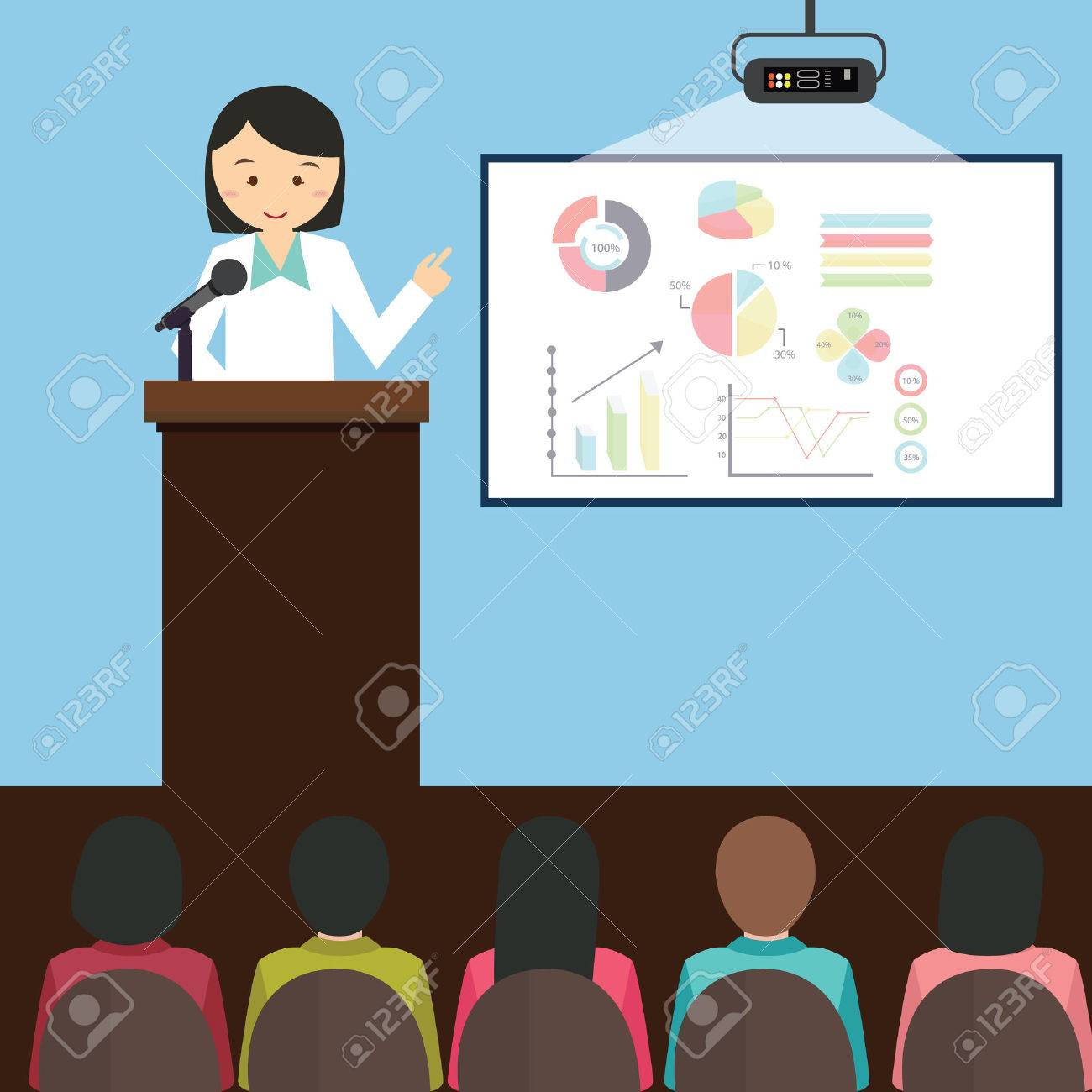 woman girl female give presentation presenting chart report speech in front of audience illustration cartoon - 50144861