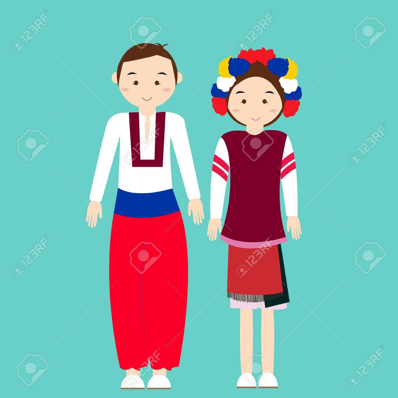 カップルを着用 ukraininan ウクライナ伝統的な服ベクトル漫画イラスト