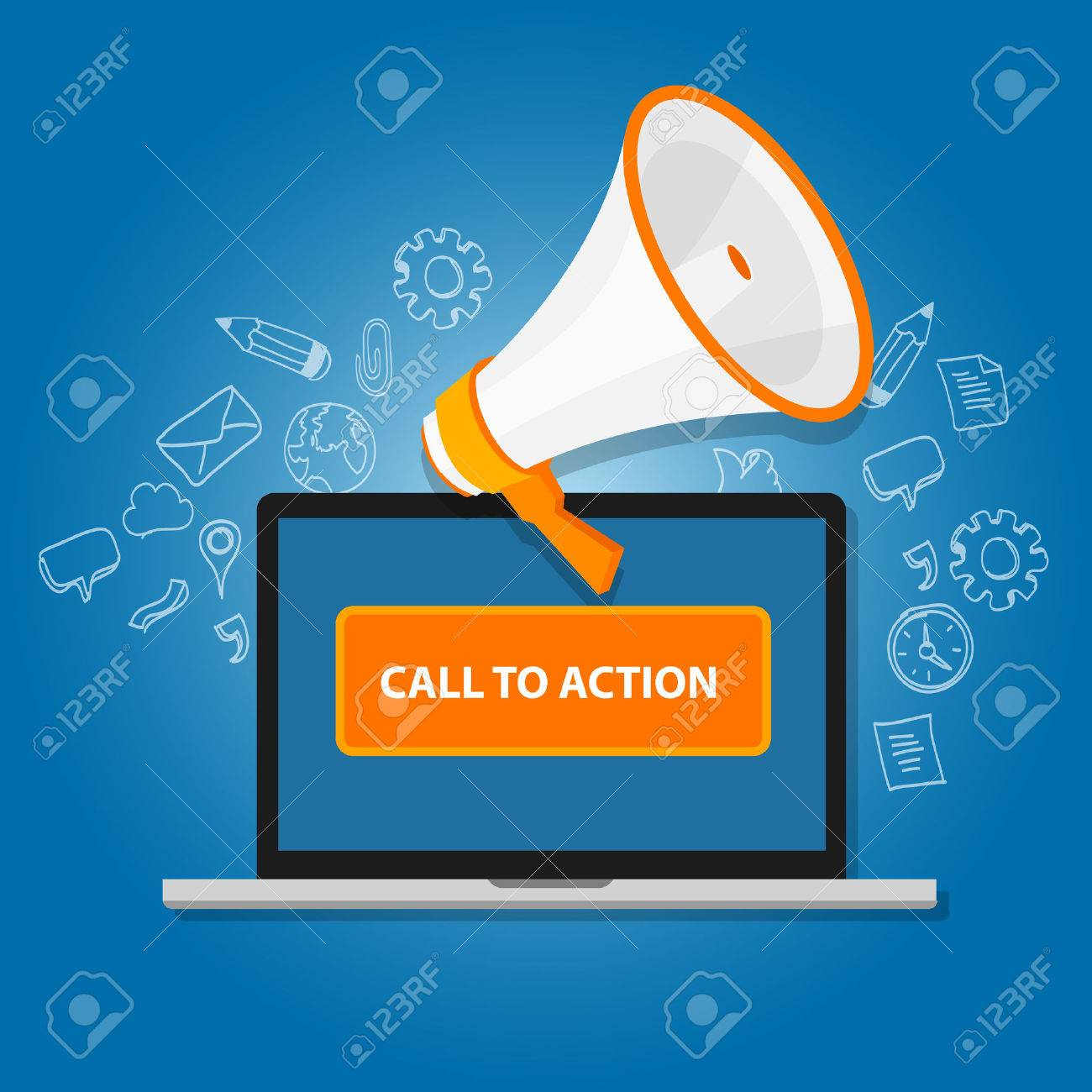 call to action button vector illustration laptop with megaphone - 51830658
