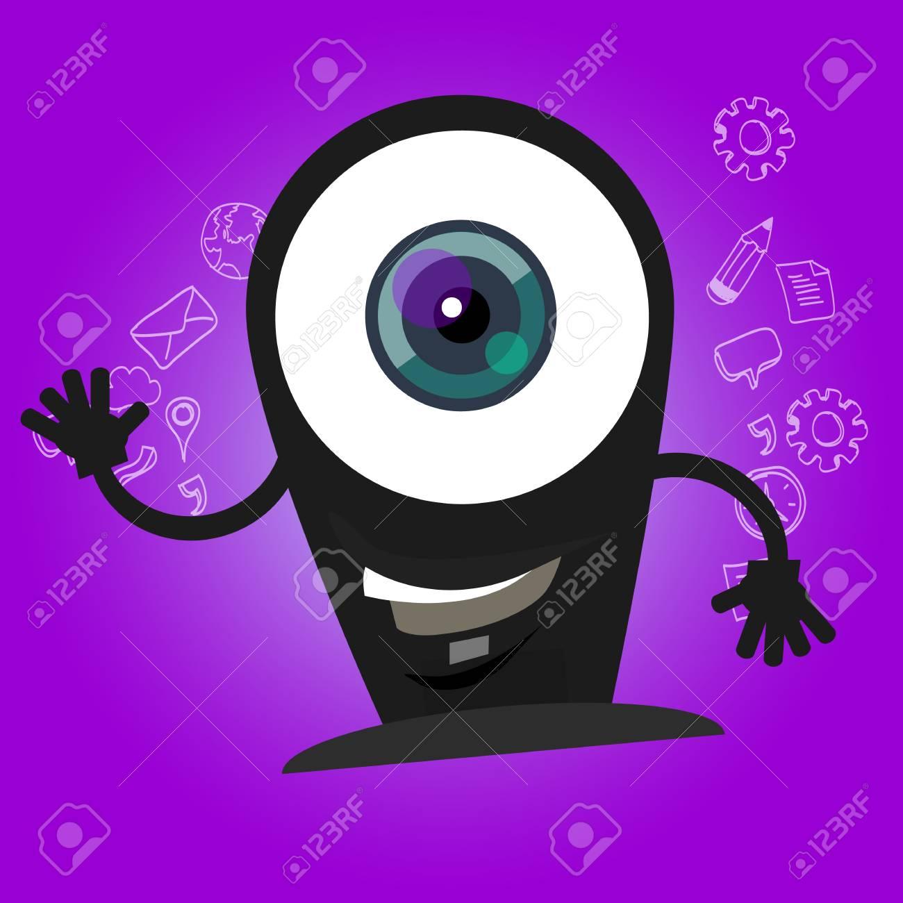 Cámara De Cámaras De Dibujos Animados Ojos Grandes Carácter De La Sonrisa Con La Cara Feliz De La Mascota De Las Manos