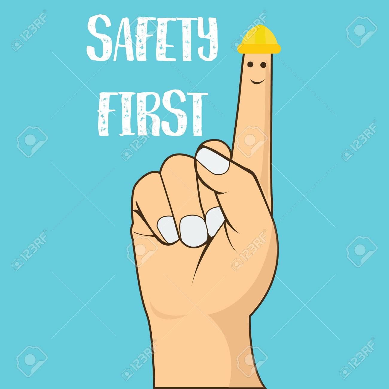 safety first finger pointing wearing helmet vector illustration concept drawing - 52563412