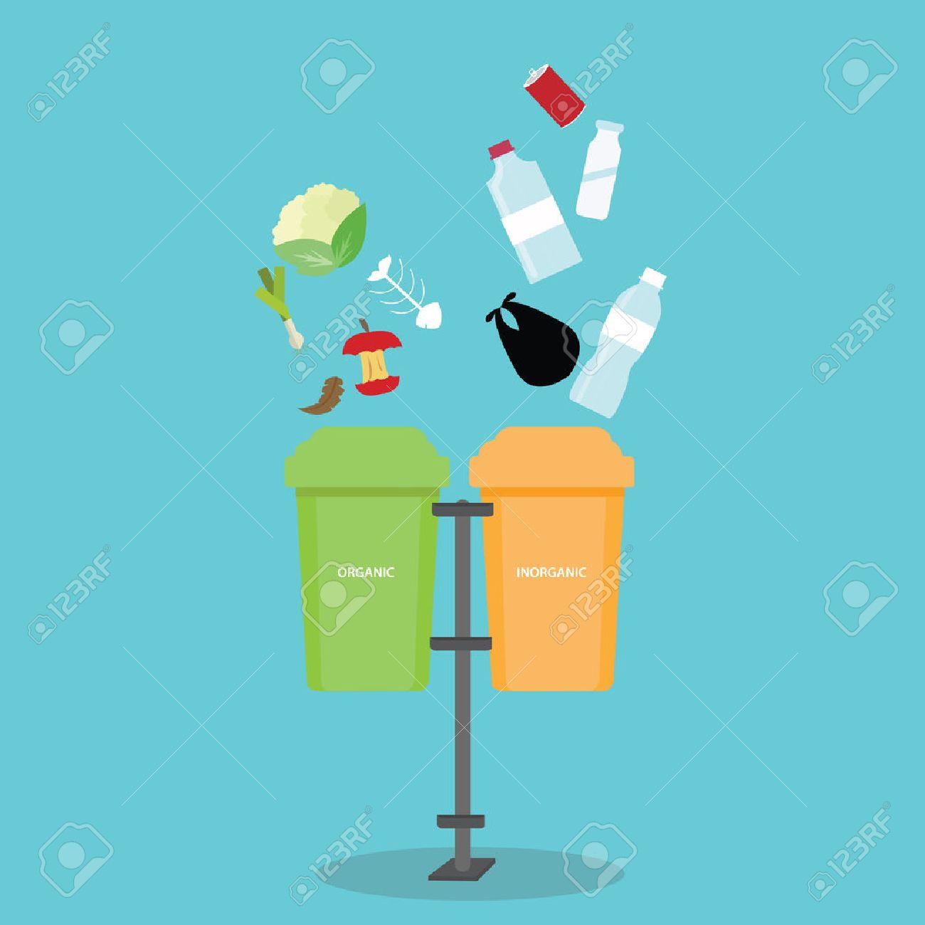 organic inorganic recycle garbage bin separation segregate separate bottle degradable waste trash vector - 52563717