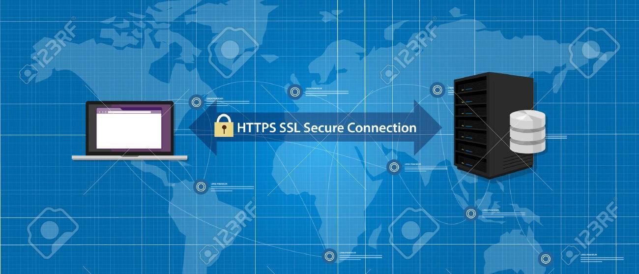 HTTPS SSL Secure connection internet certificate network communication vector - 53582638