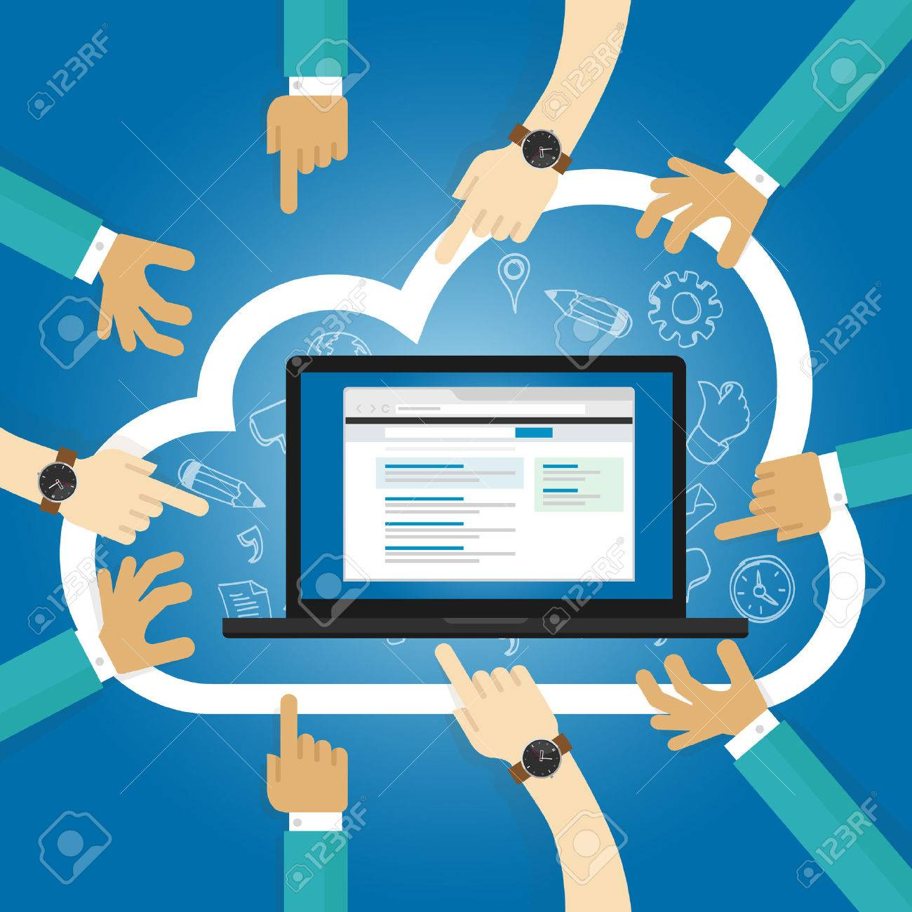 SaaS Software as a service cloud application access internet subscription basis centrally hosted on-demand software vector - 53582702