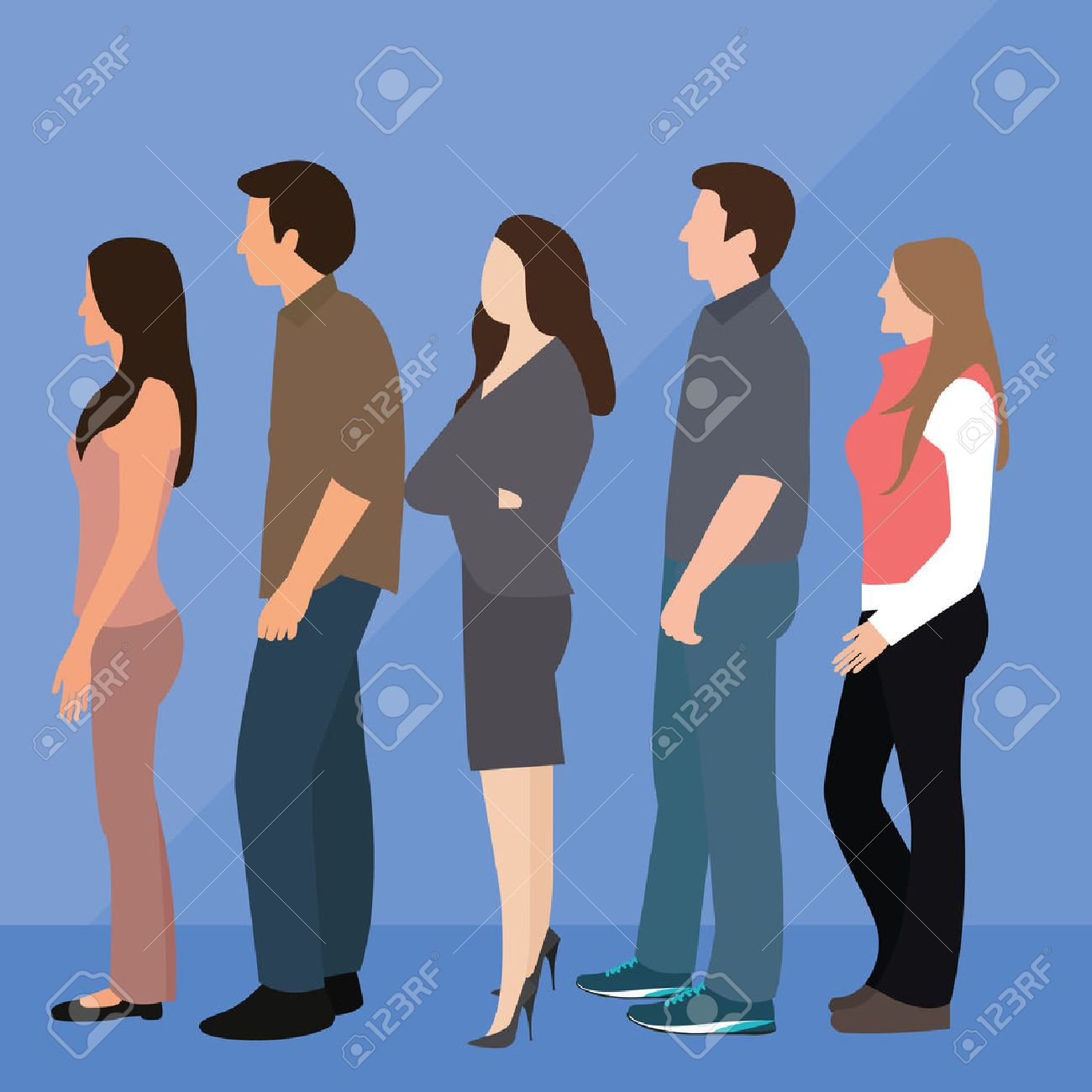 group of people man woman queue line standing waiting vector - 53583181