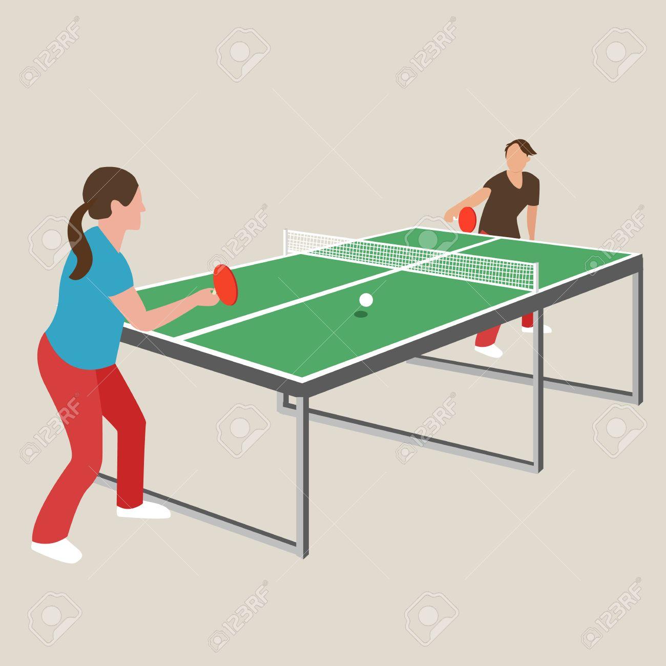Tenis De Mesa De Ping Pong Mujer Mujer Nina Deportista Dibujo Juegos