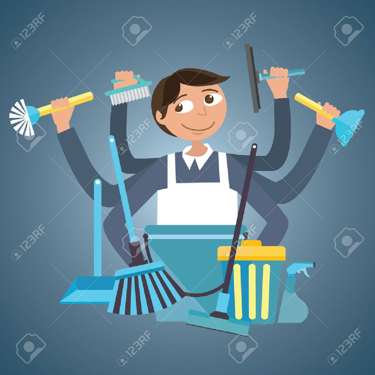 man male cleaning service house office cleaner tools wipe garbage container tools janitor brush spray vector drawing illustration - 53589020