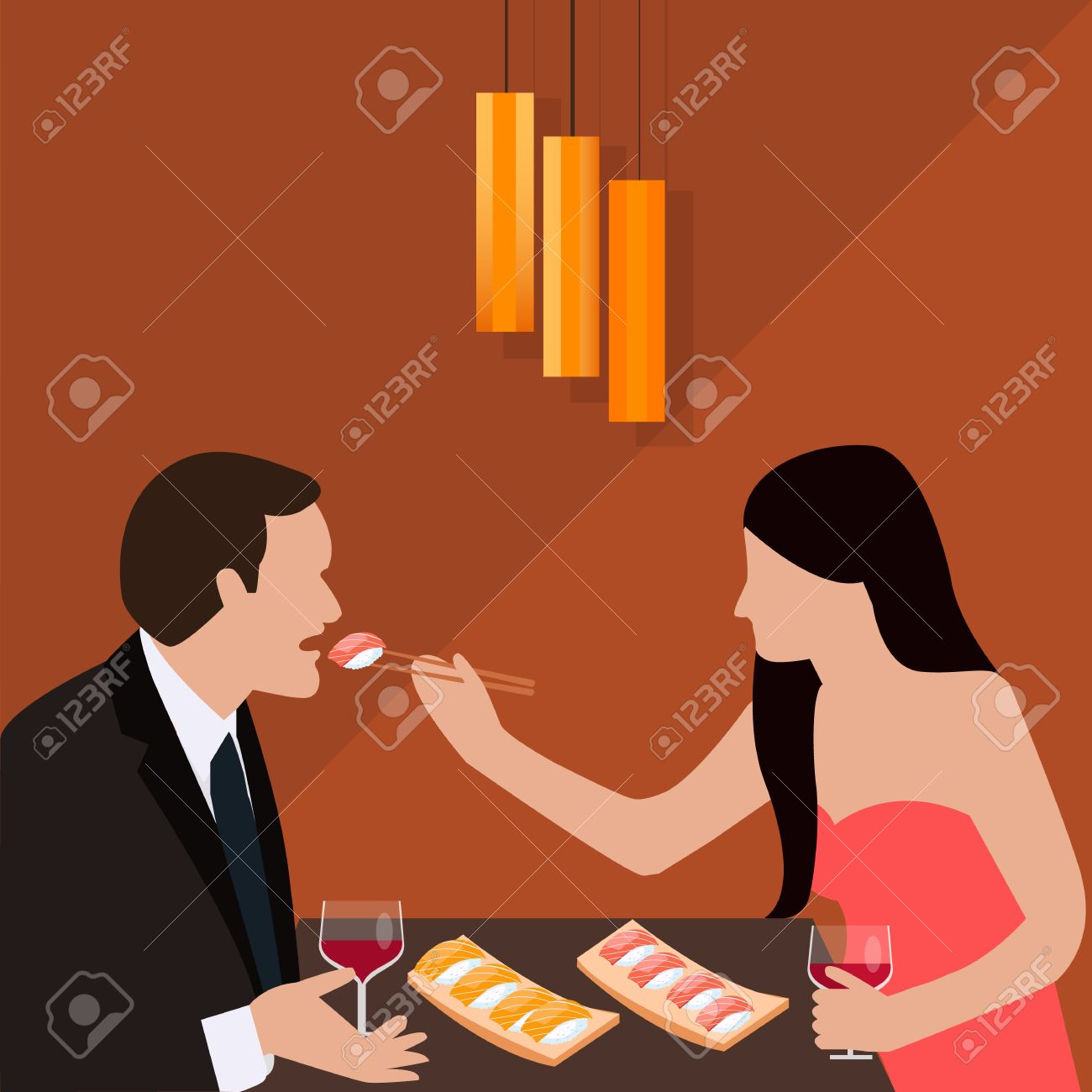 couple dinner woman give food for man romantic sushi eating drink wine glass vector Foto de archivo - 53663220
