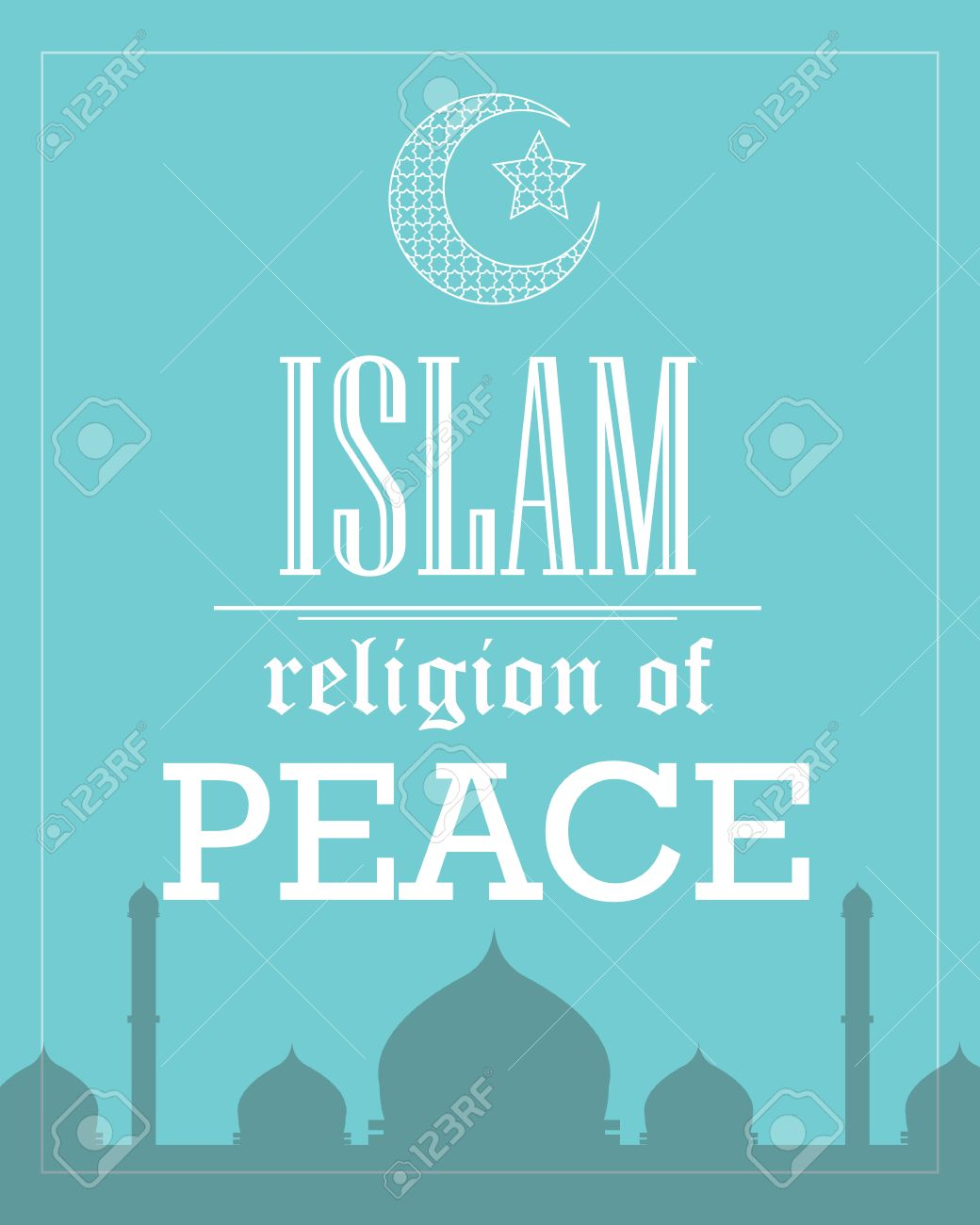 islam religion of peace poster template flat tipography