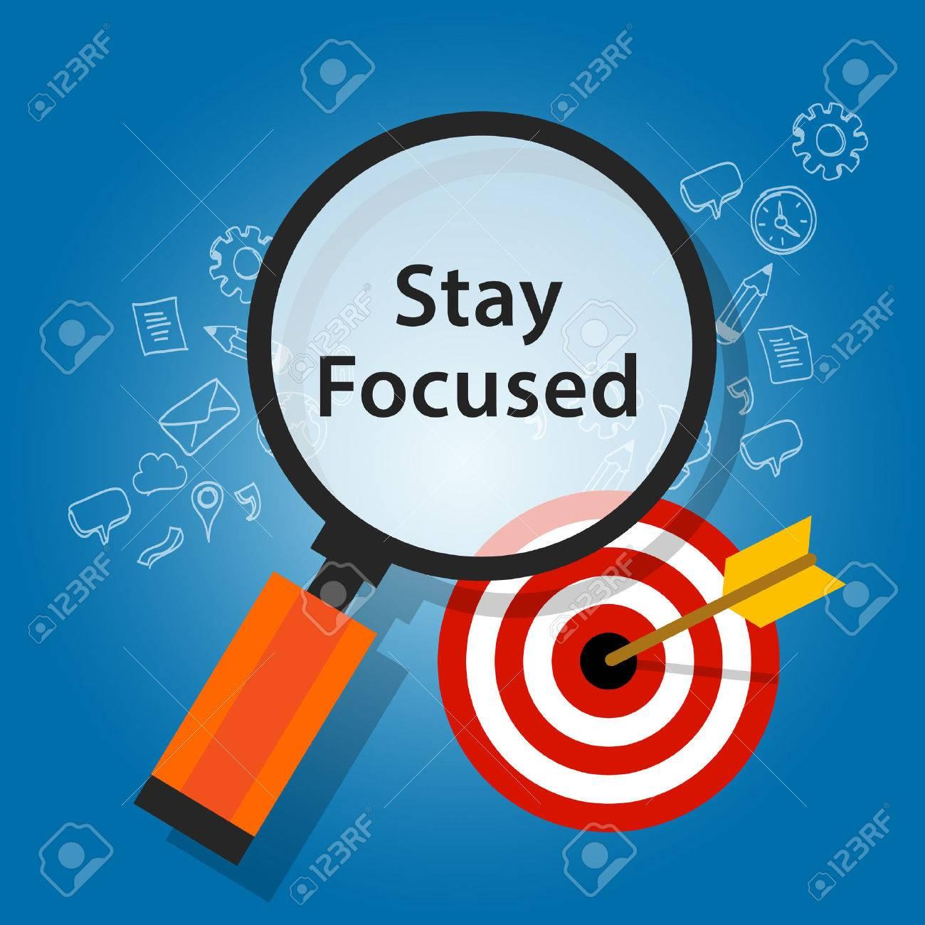 stay focused on target reminder goals flat illustration - 53761741