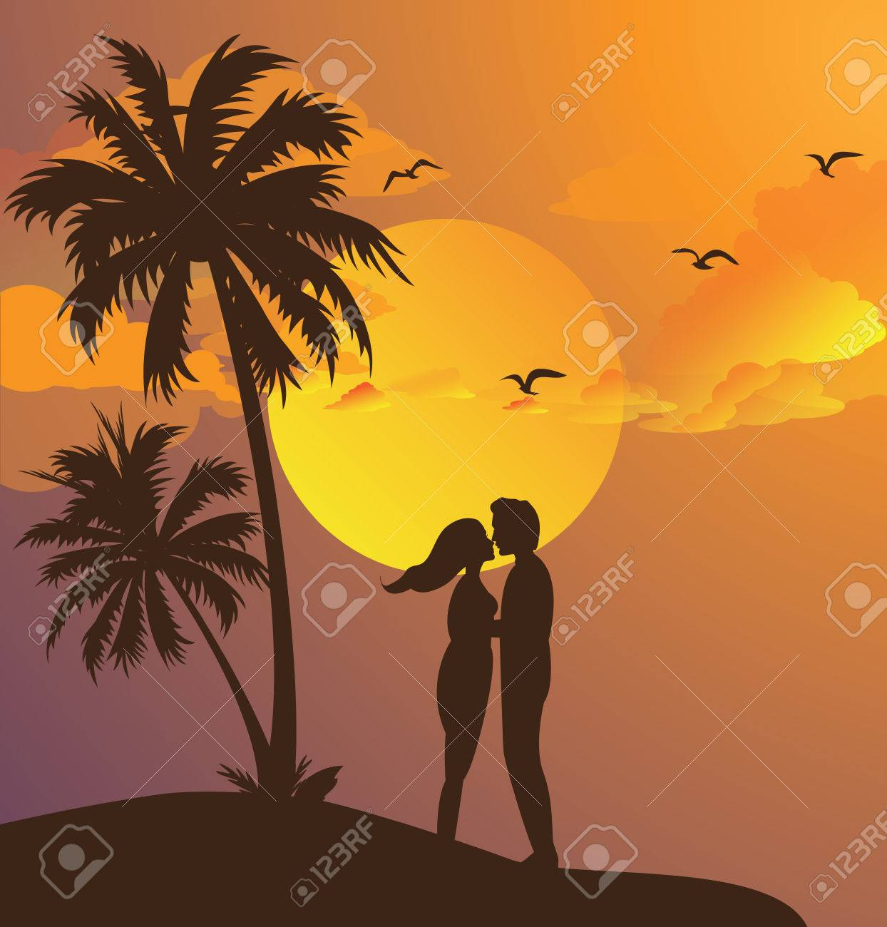 couple kissing silhouette sunset on beach romantic moment yellow sky palm tree vector Stock Vector - 55601895