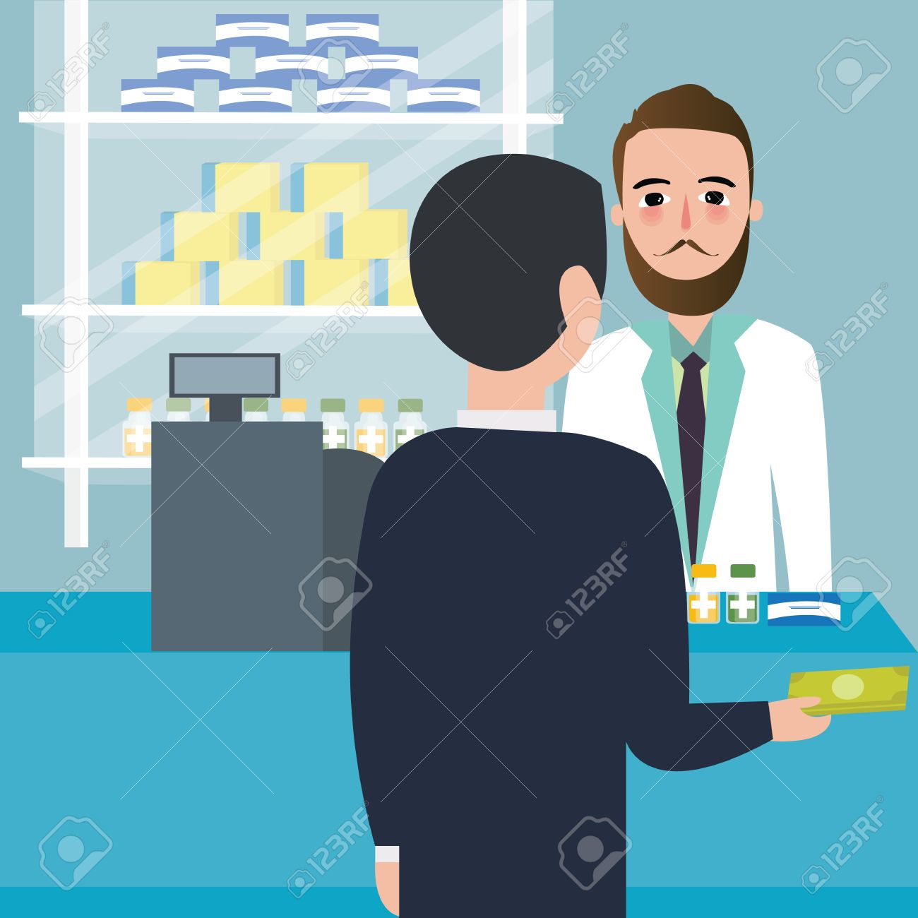 People Consumer Buying Drug In Drug Store Pharmacy Store At Counter