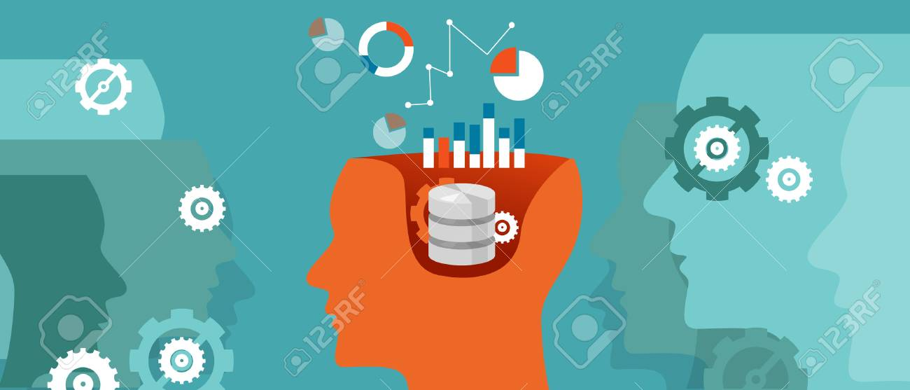 data scientist database science data graph thinking computing vector - 58711720