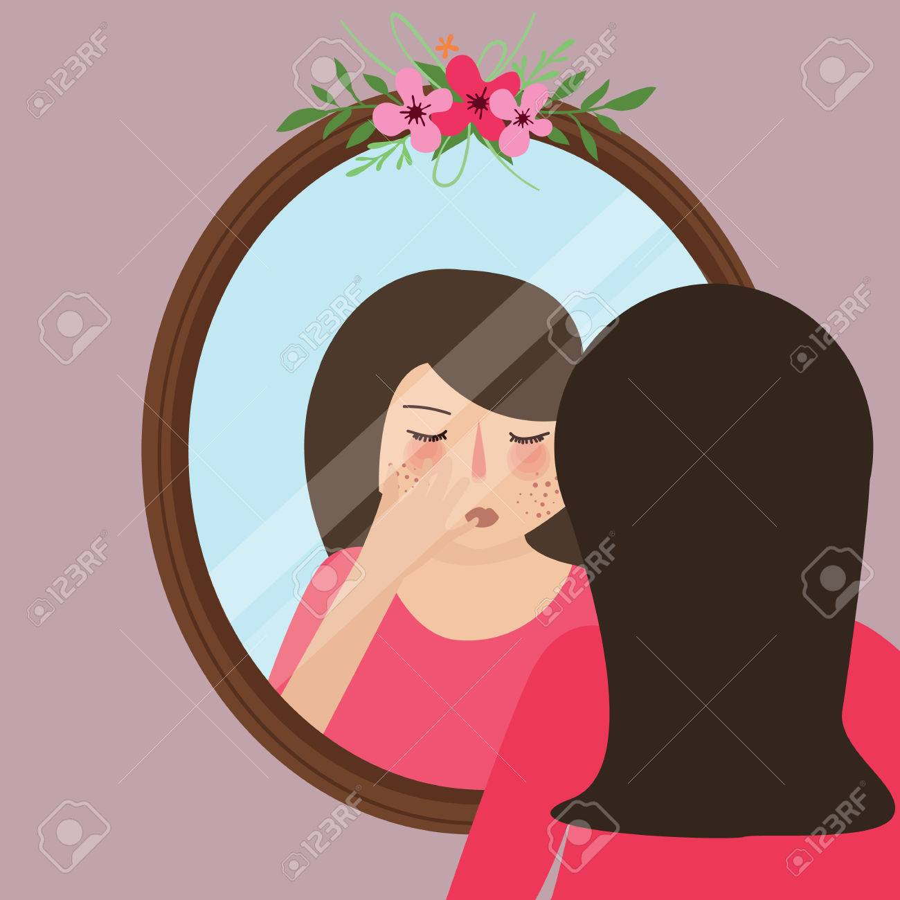 girls with acne pimple looking into mirror skin face problem vector - 58711752