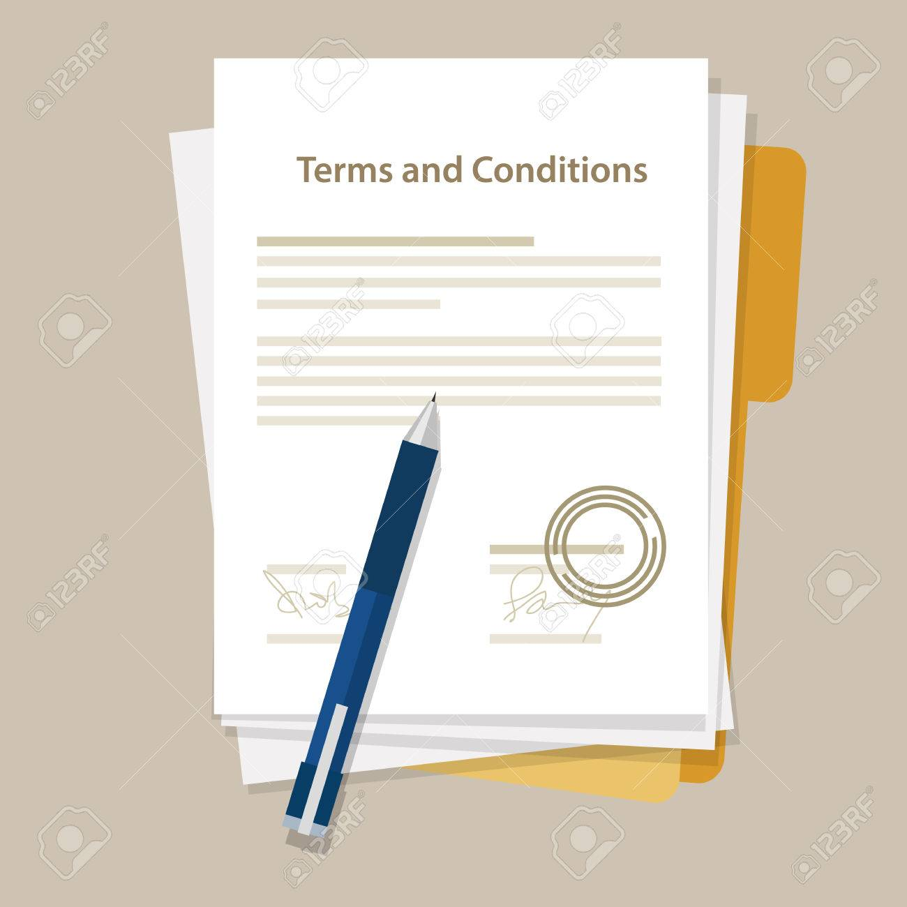 Terms And Condition Document Paper Legal Aggreement Signed Stamp Stock Vector