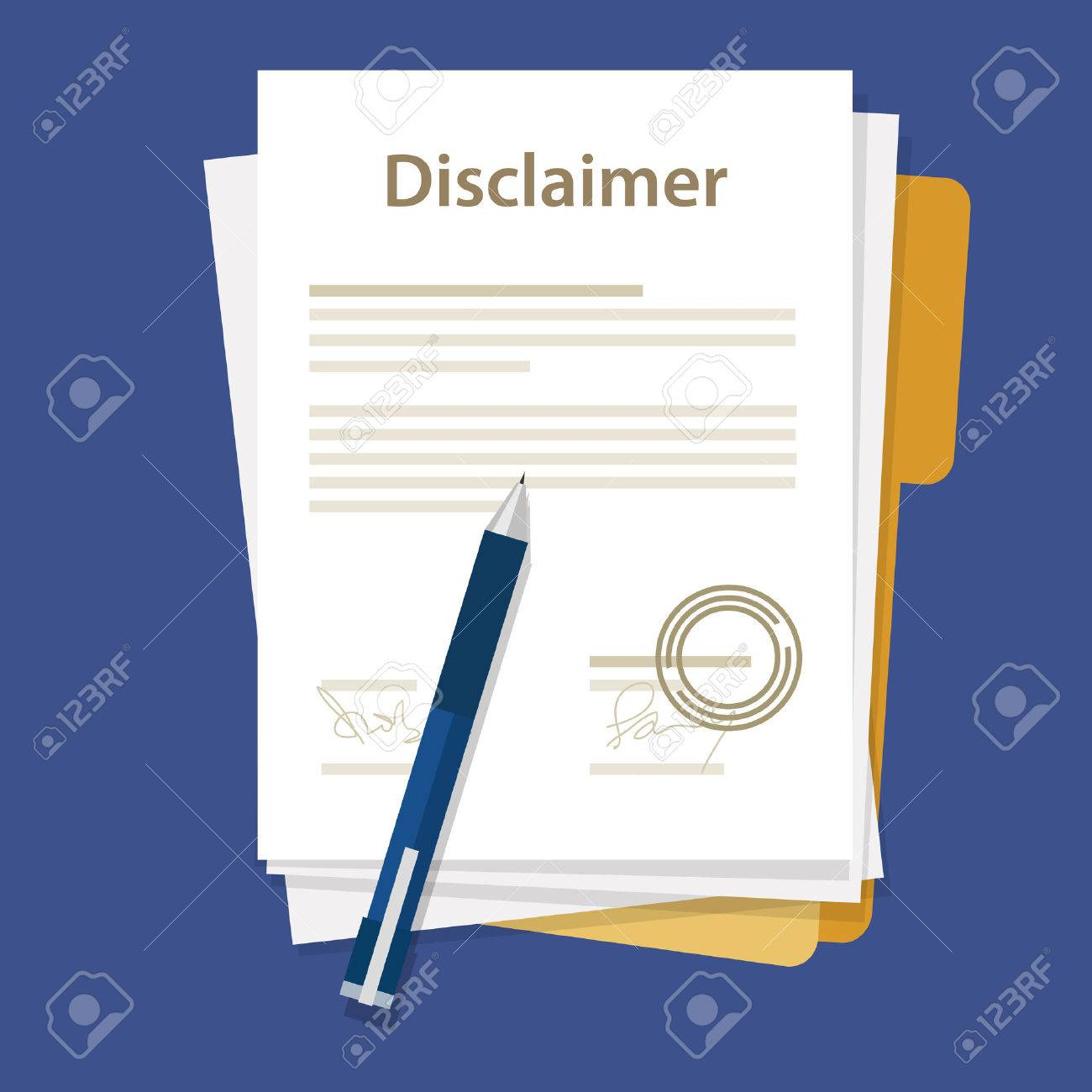 Disclaimer Document Paper Legal Aggreement Signed Stamp Stock Vector