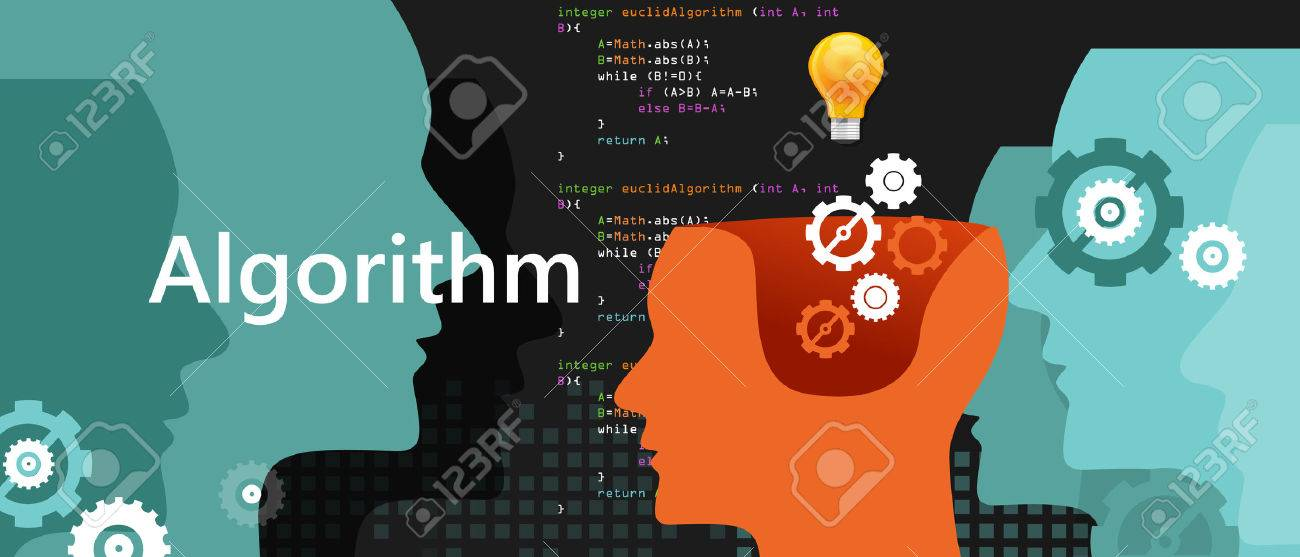 computer algorithm computer science problem solving process with programming language code concept light bulb and gear vector - 60186628