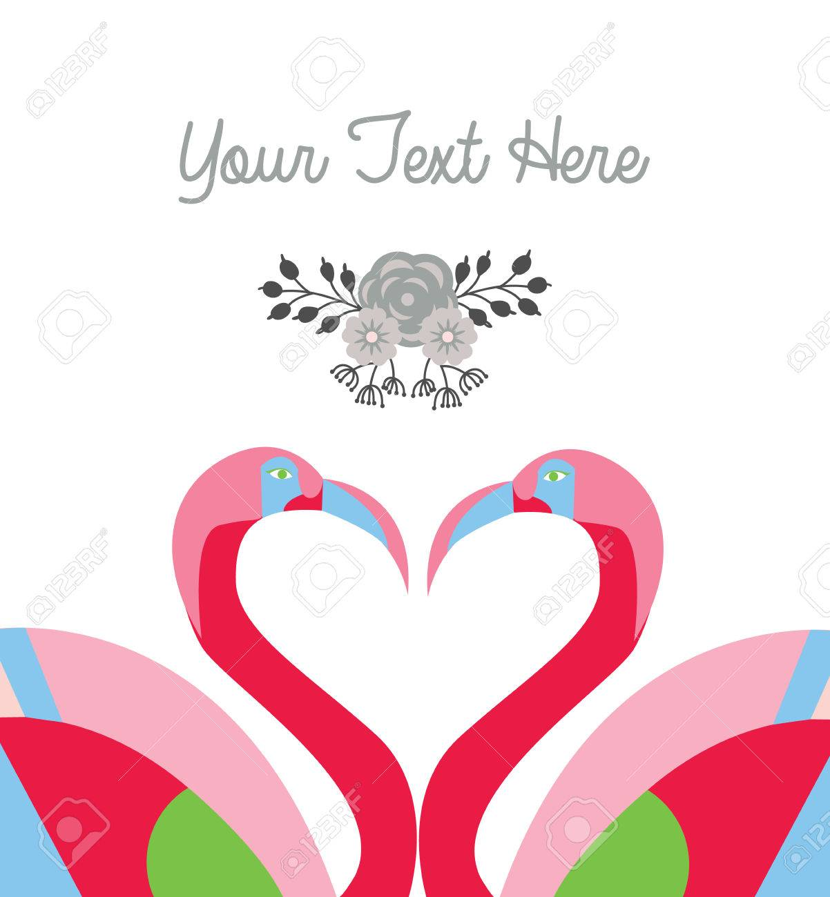 love card template two flamingo make heart shape vector royalty free