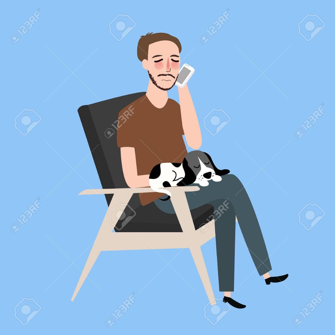 Homme Assis Avec Son Chat Dans Un Fauteuil Millesime Appelant