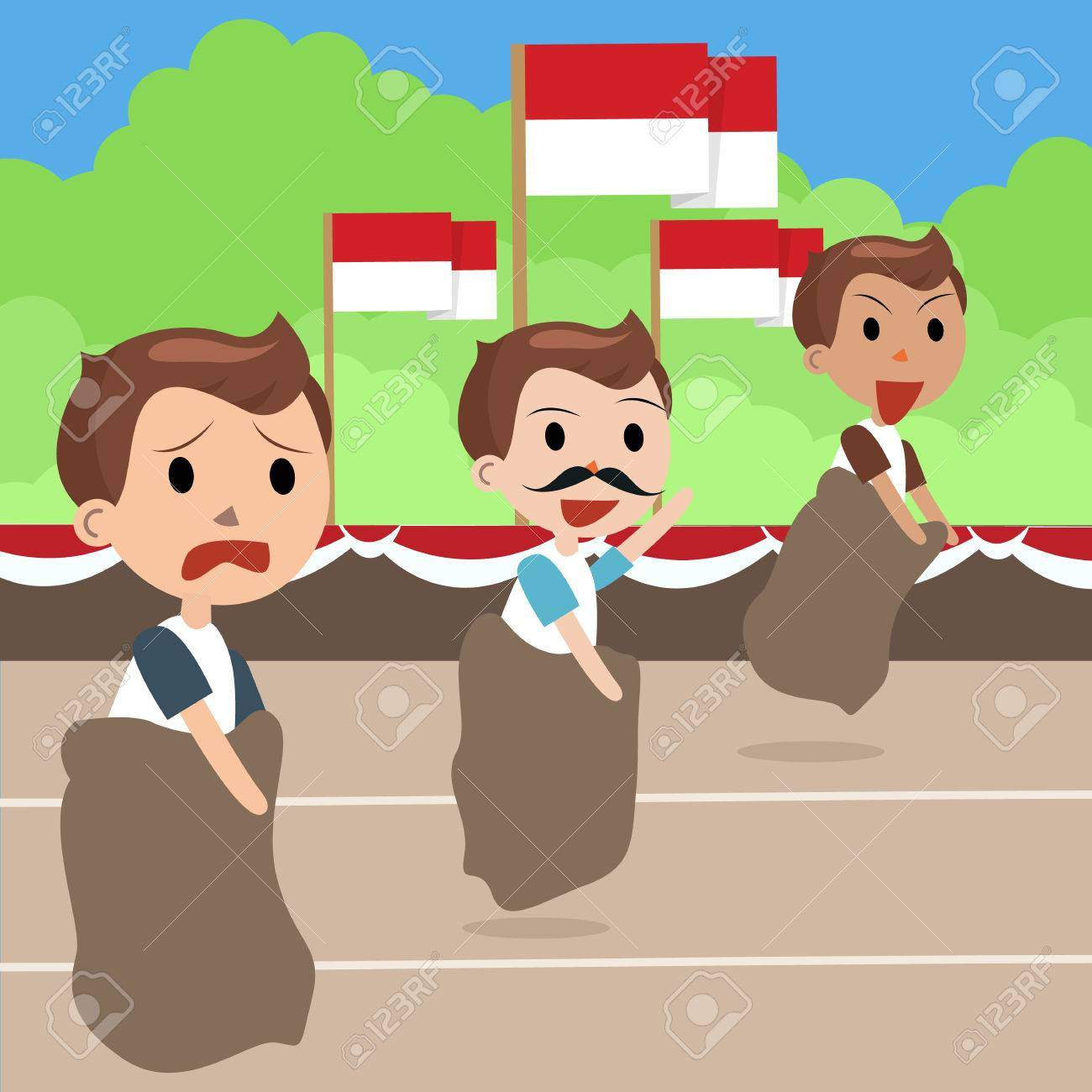 Indonesia traditional special games during independence day, man racing inside bag vector - 60187375