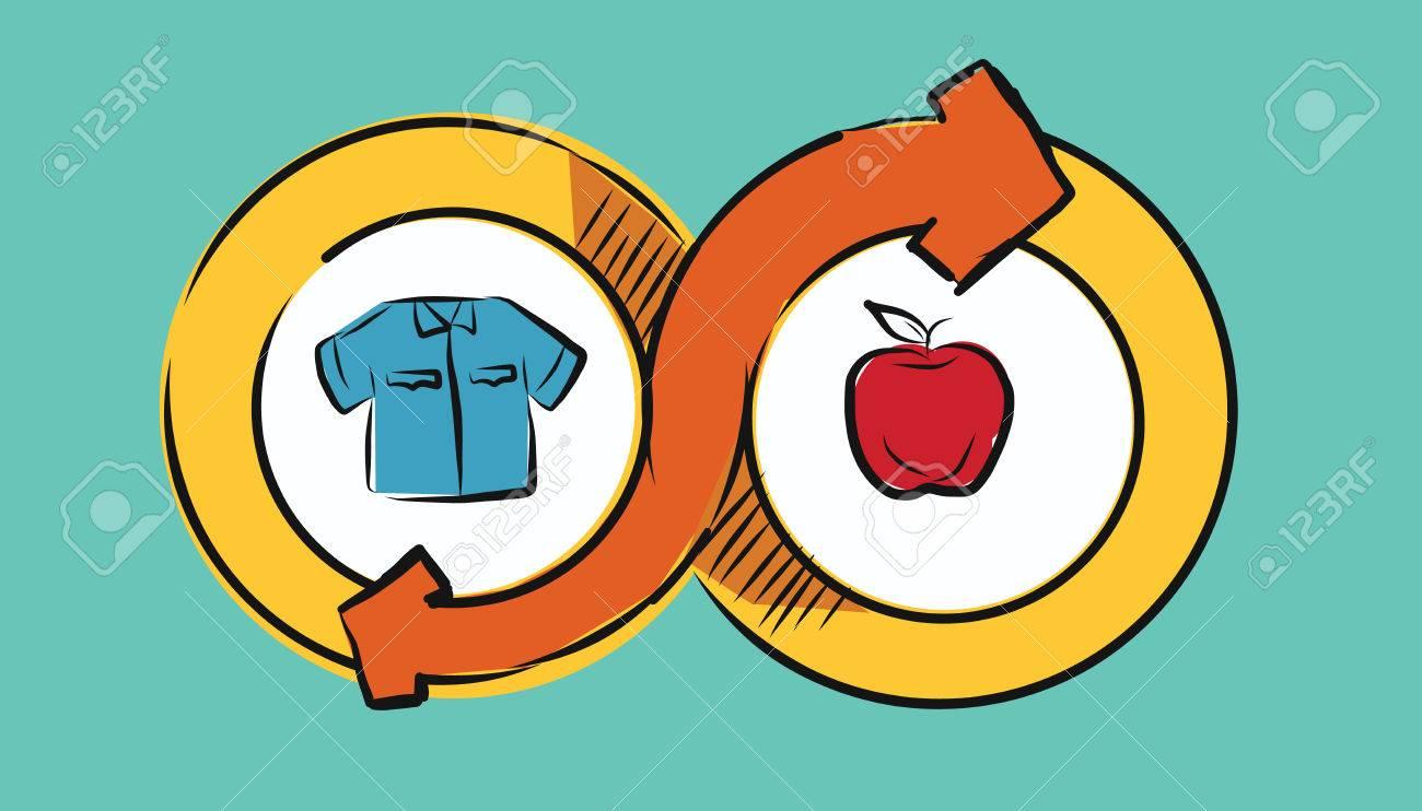 barter commerce trade transaction economic concept exchange swap goods drawing illustration - 60756522