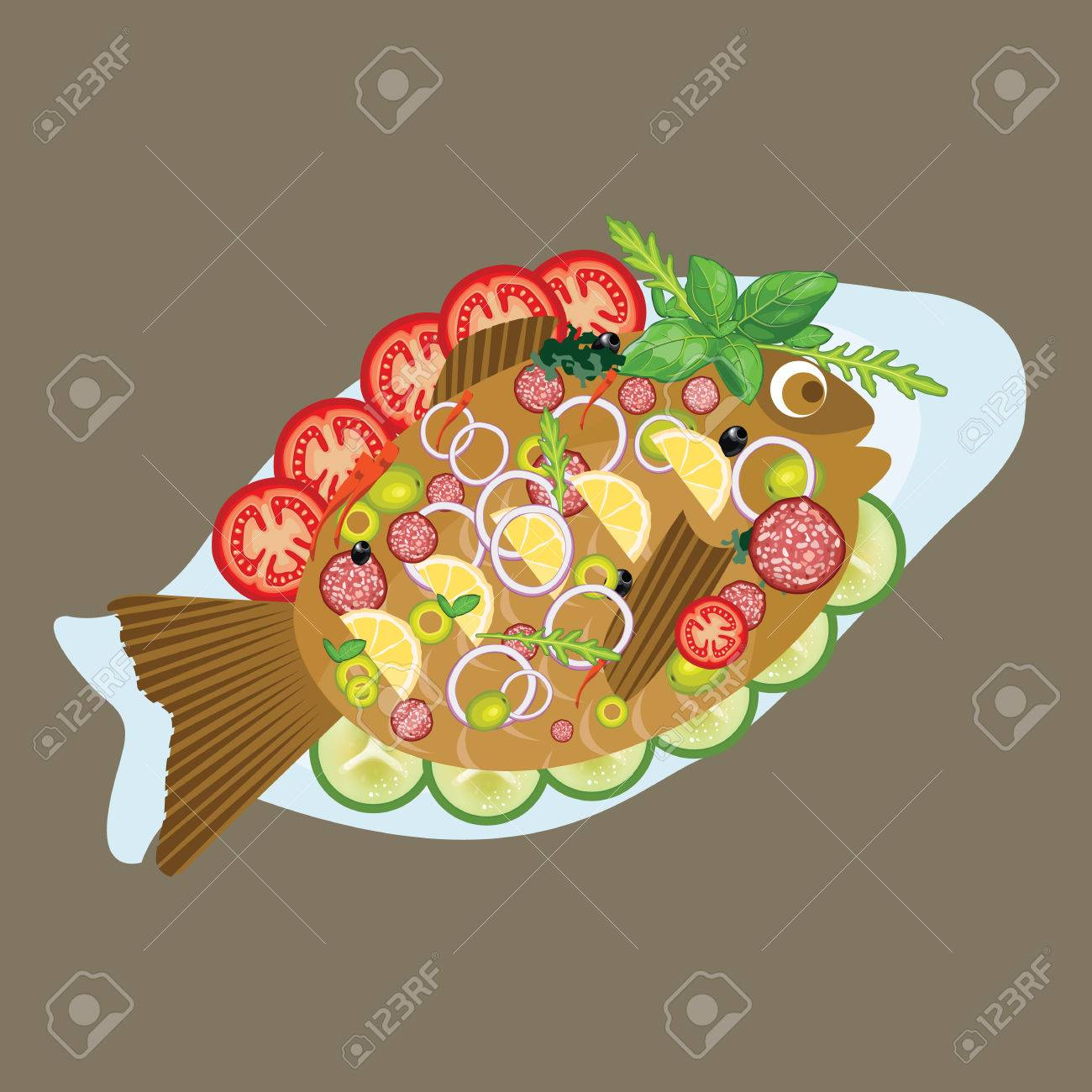 grilled fish in a plate sea food dinner lunch menu with vegetable vector Stock Vector - & Grilled Fish In A Plate Sea Food Dinner Lunch Menu With Vegetable ...