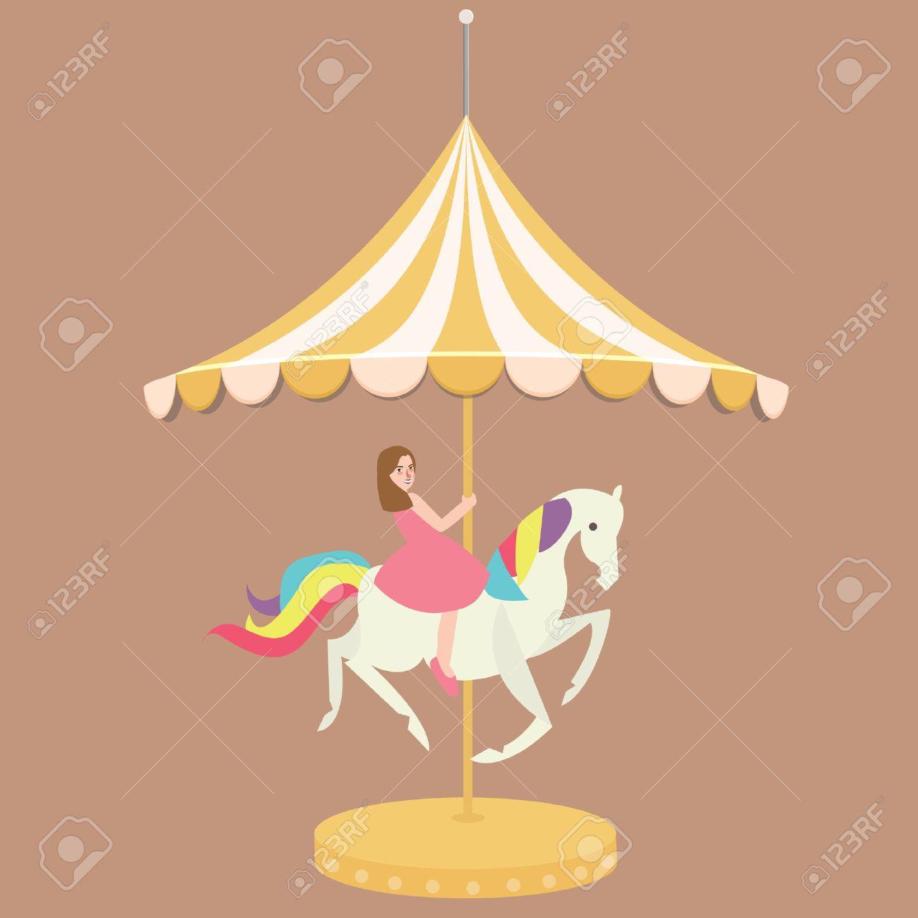 Carrousel Dessin femme fille à cheval dessin animé carrousel carnaval plat