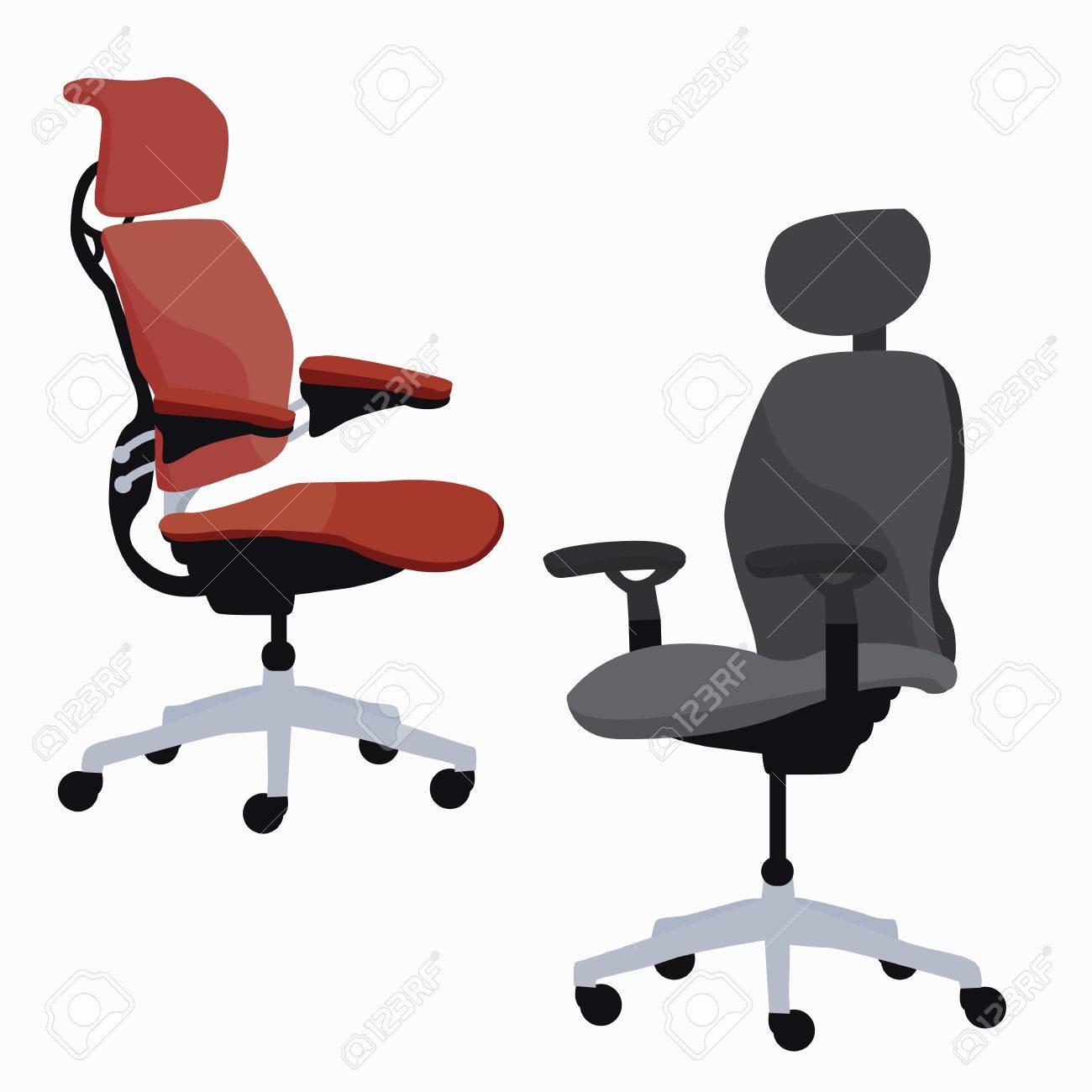 Ergonomischer Stuhl Büromöbel Verstellbare Sessel Vektor Lizenzfrei