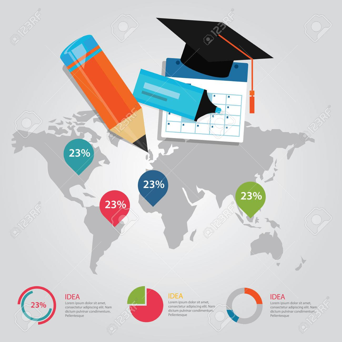 Education info graphic world map statistics cap pencil calendar education info graphic world map statistics cap pencil calendar literacy demographic presentation vector stock vector gumiabroncs Images