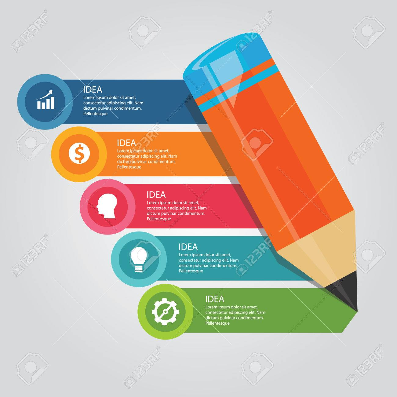 5 Pasos Elementos Concepto De Alfabetización Lápiz De Escritura De ...
