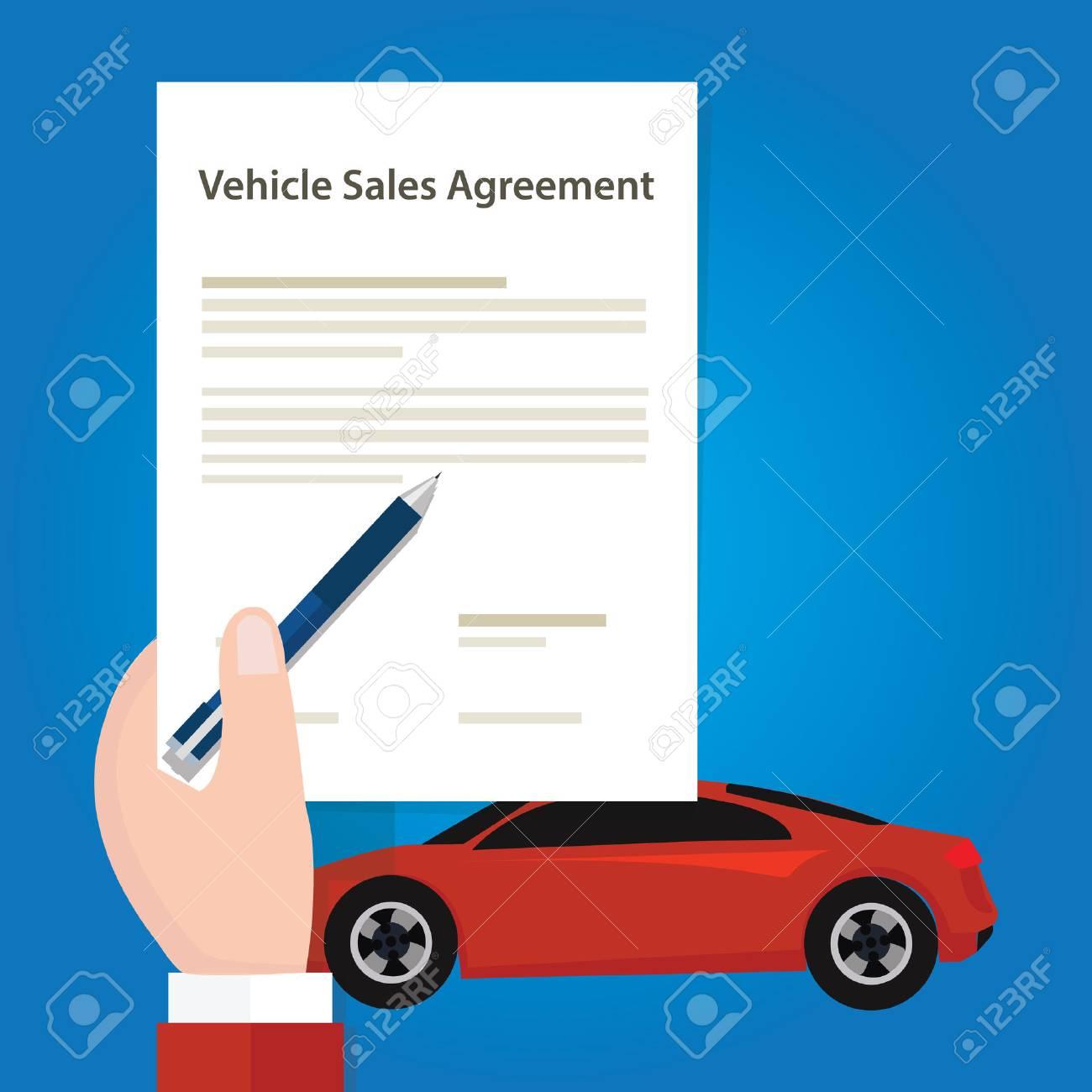 Voiture Véhicule Document De Contrat De Vente Du Papier Main Tenant Le Document Vecteur