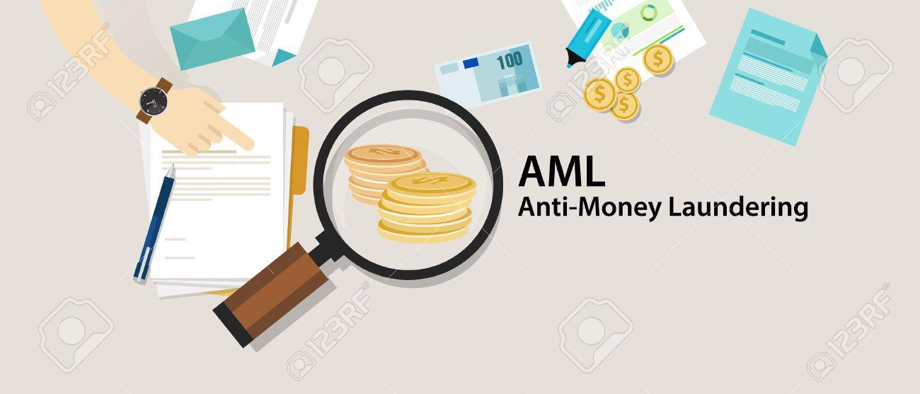 AML anti money laundering cash coin transaction company vector - 67580161