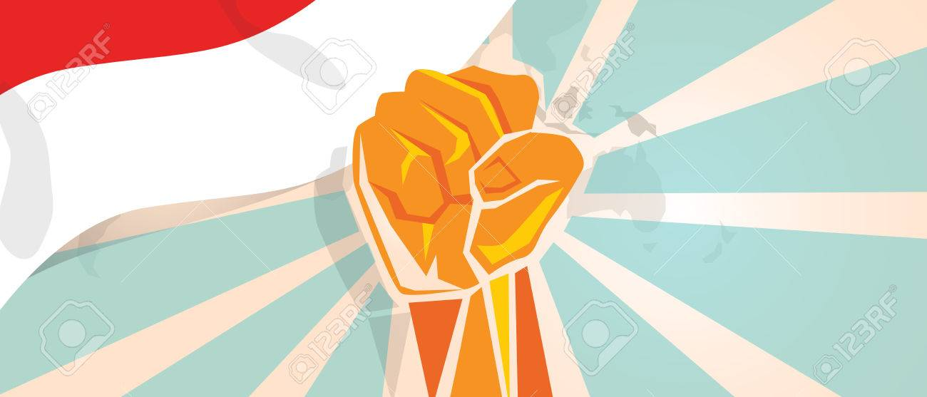 Indonesia Indonesian fight and protest independence struggle rebellion show symbolic strength with hand fist illustration and flag - 72311025