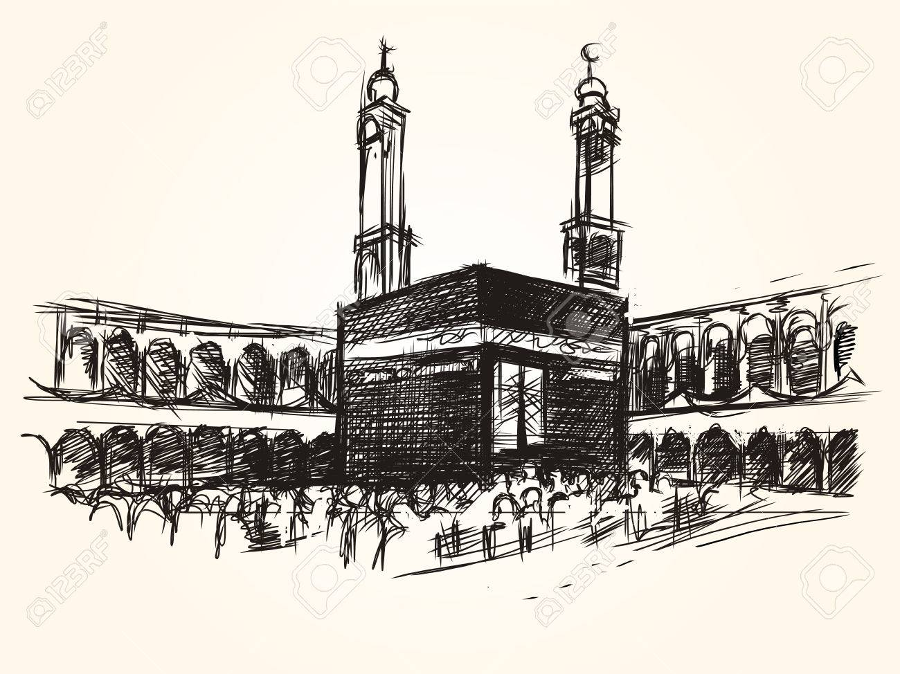 Kaaba holy symbolic building in islam vector sketch drawing pilgrimage hajj - 74913810