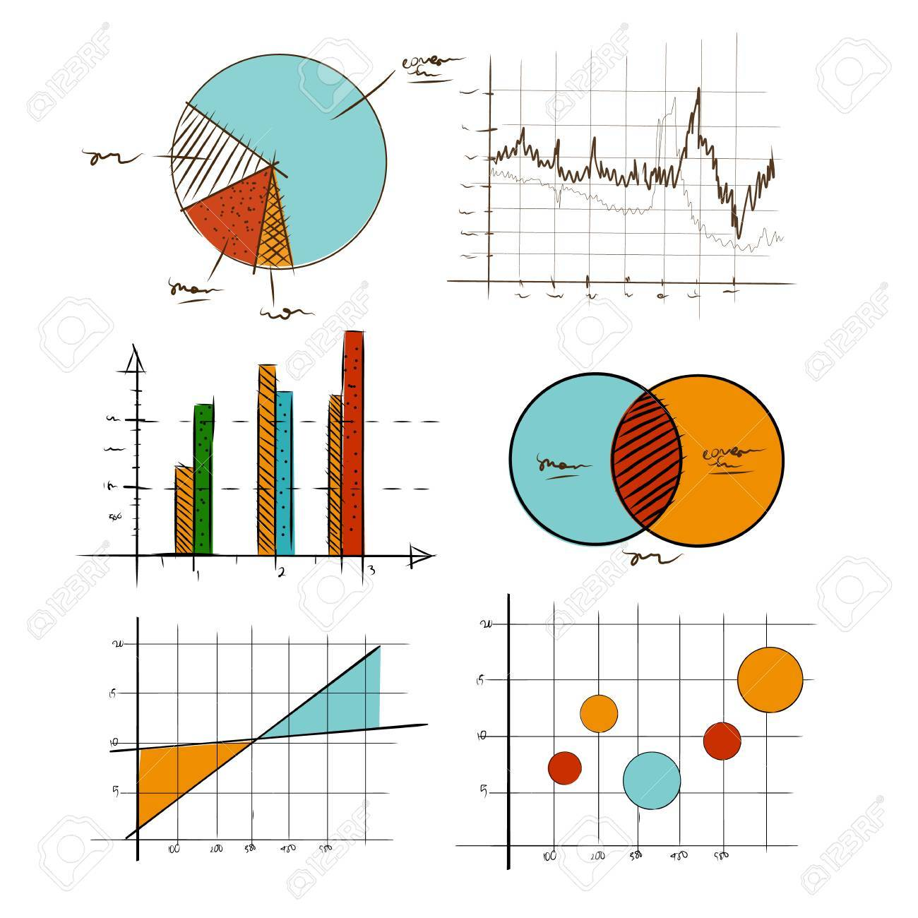 hand drawing chart graphic collection set for business and statistics education such as venn diagram