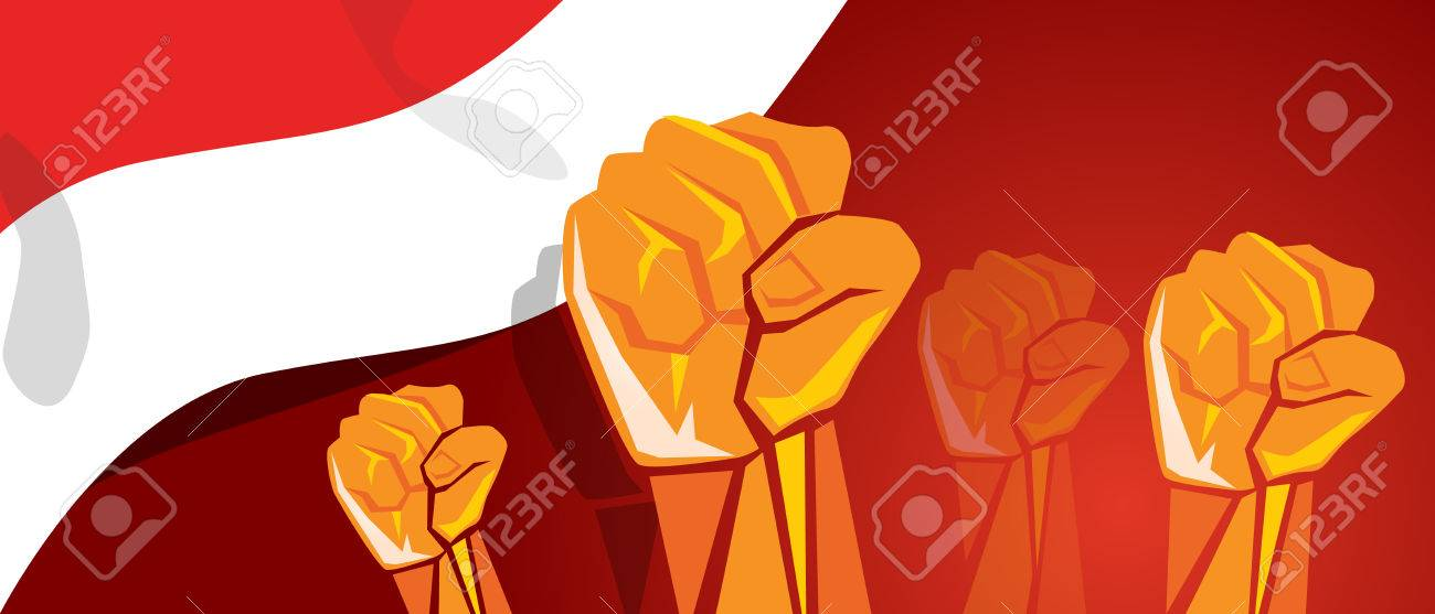 movement together independence day hand fist arm Indonesia flag red white - 83080584