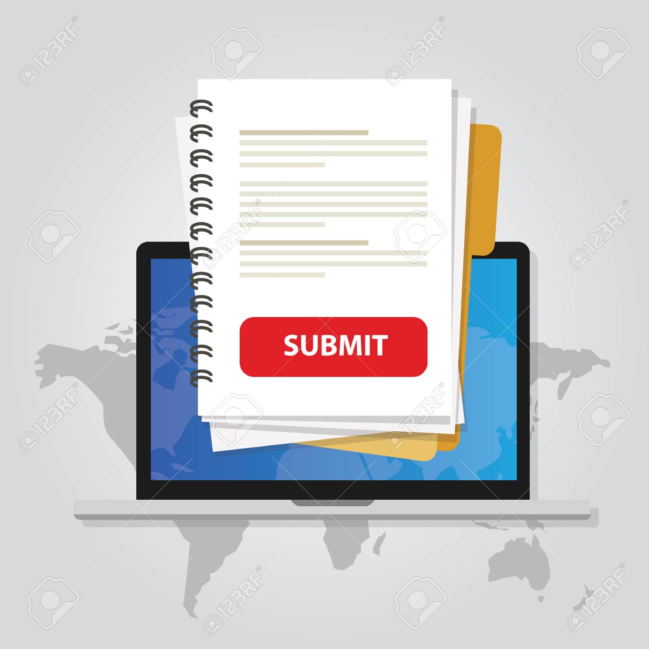 Submit Document Online Via Laptop With Red Button Via Internet
