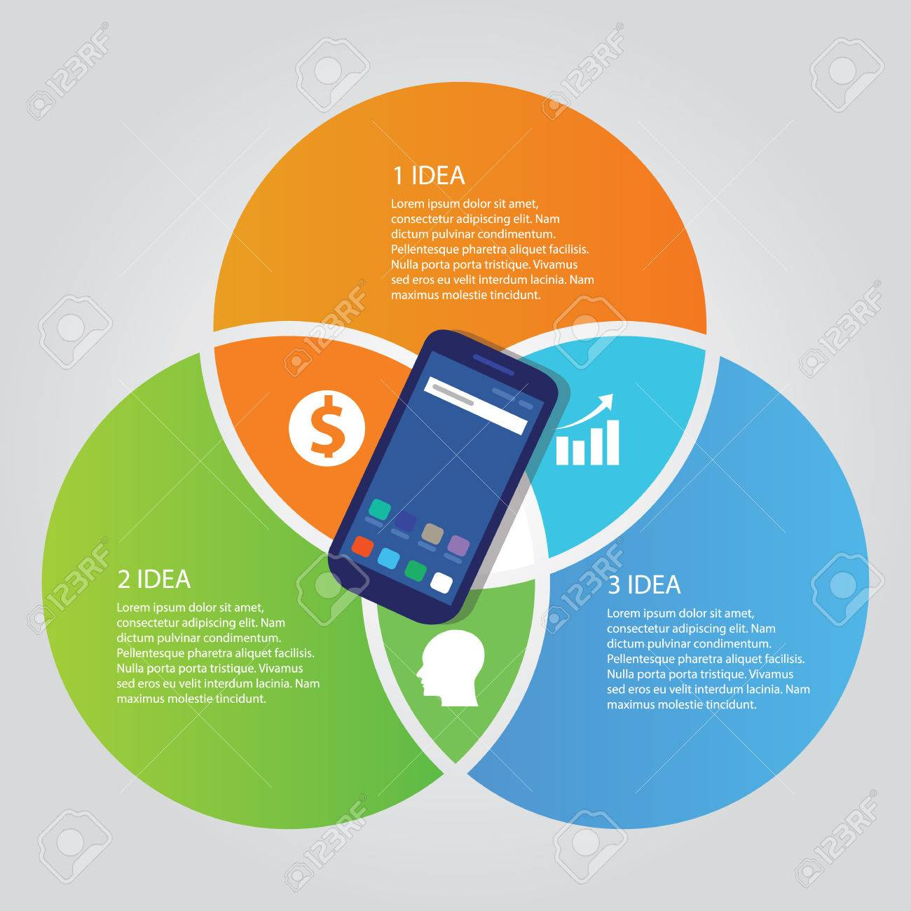 mobile smart-phone communication technology template info-graphic color bright overlapping circle three area - 84967968