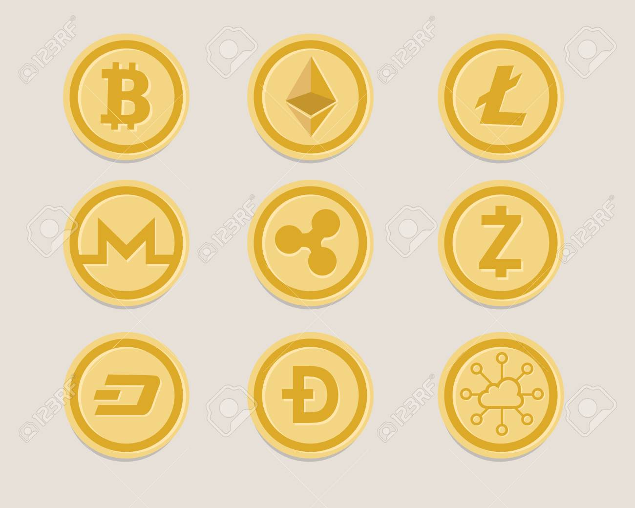 A crypto currency coin set vector illustration. - 87701663