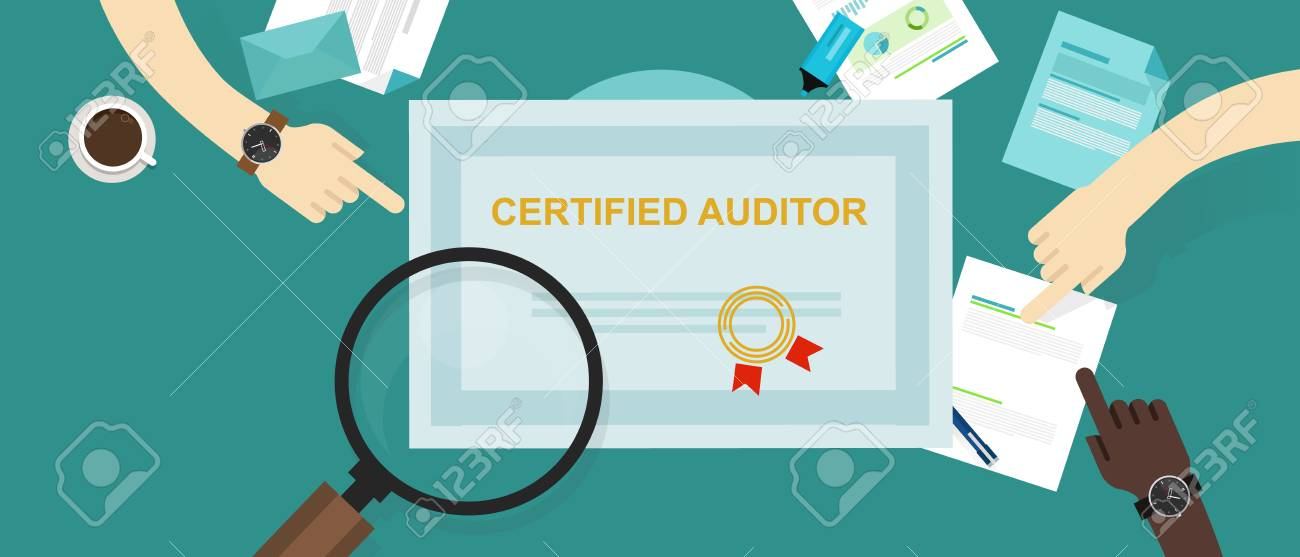 certified auditor in internal financial certification and information technology company hand working on data with magnifier - 95042079