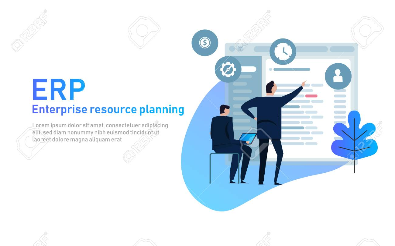 IT manager analyzing the architecture of ERP Enterprise Resource Planning system on virtual AR screen with connections between business intelligence BI , production, HR and CRM modules - 107973403